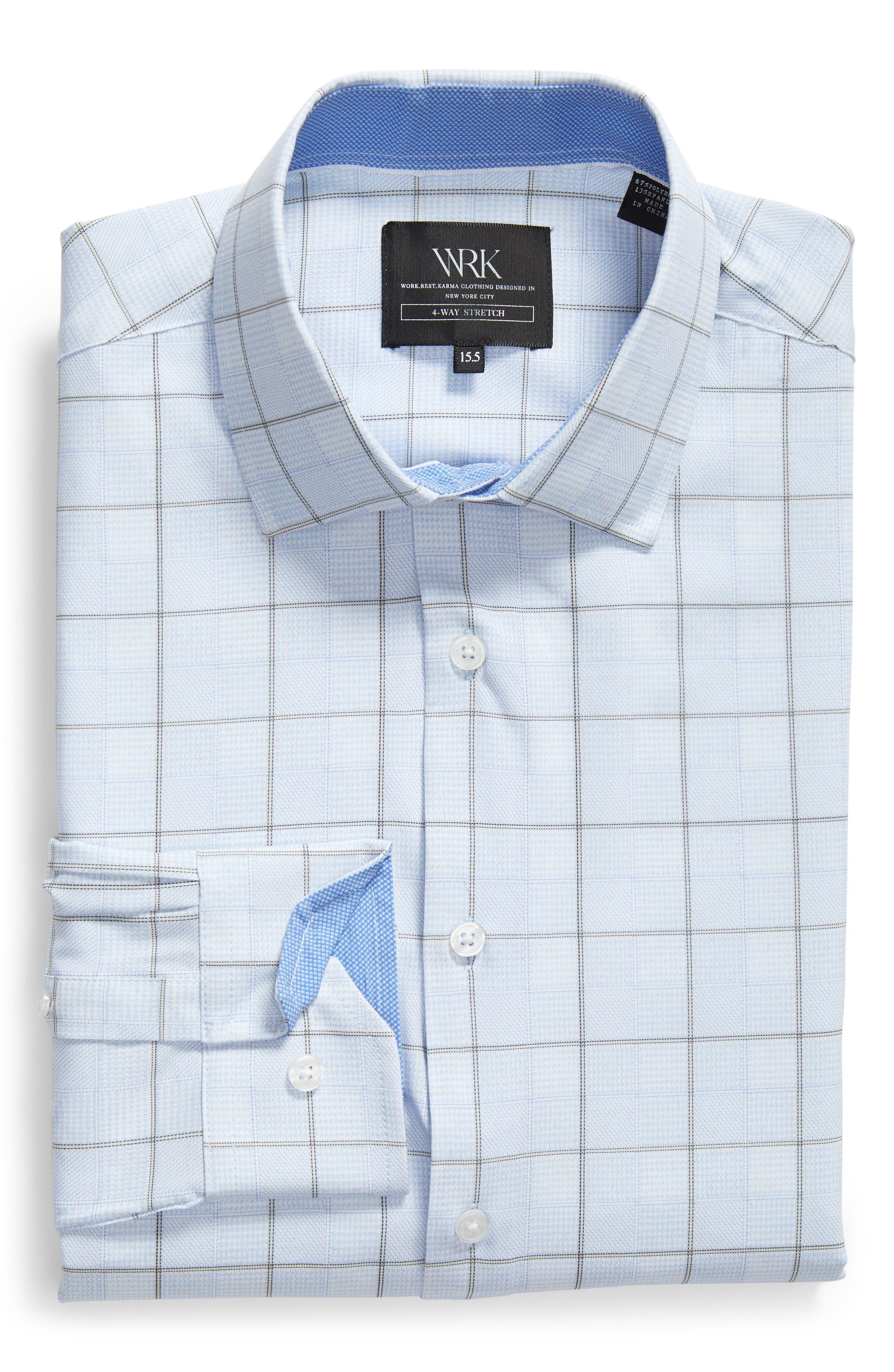 Trim Fit Plaid 4-Way Stretch Dress Shirt,                             Alternate thumbnail 5, color,                             BLUE