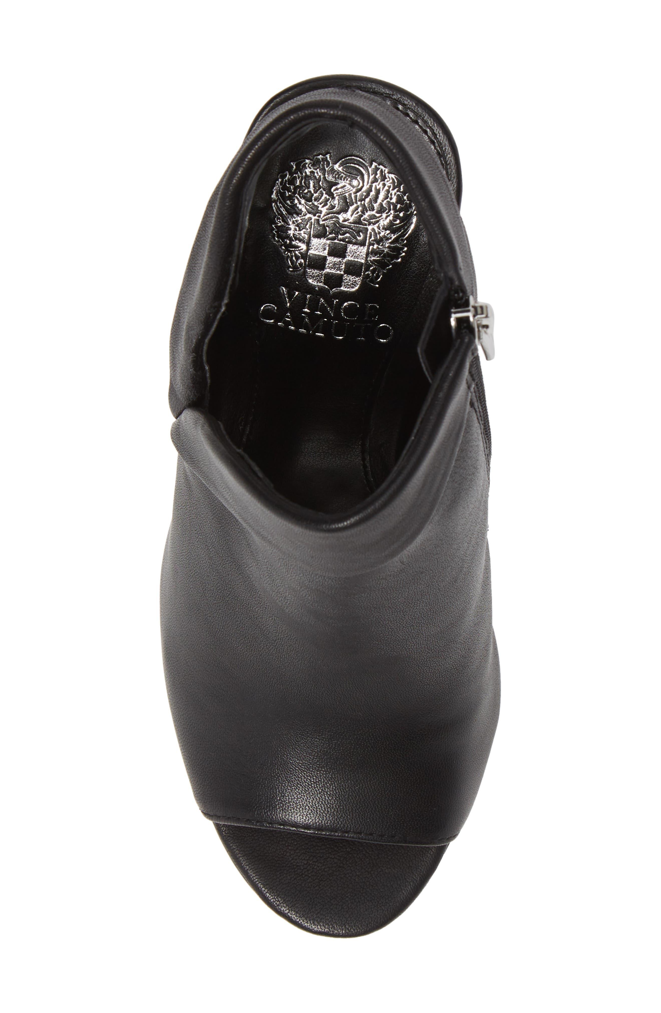 Cholia Asymmetrical Sandal Bootie,                             Alternate thumbnail 5, color,                             BLACK LEATHER