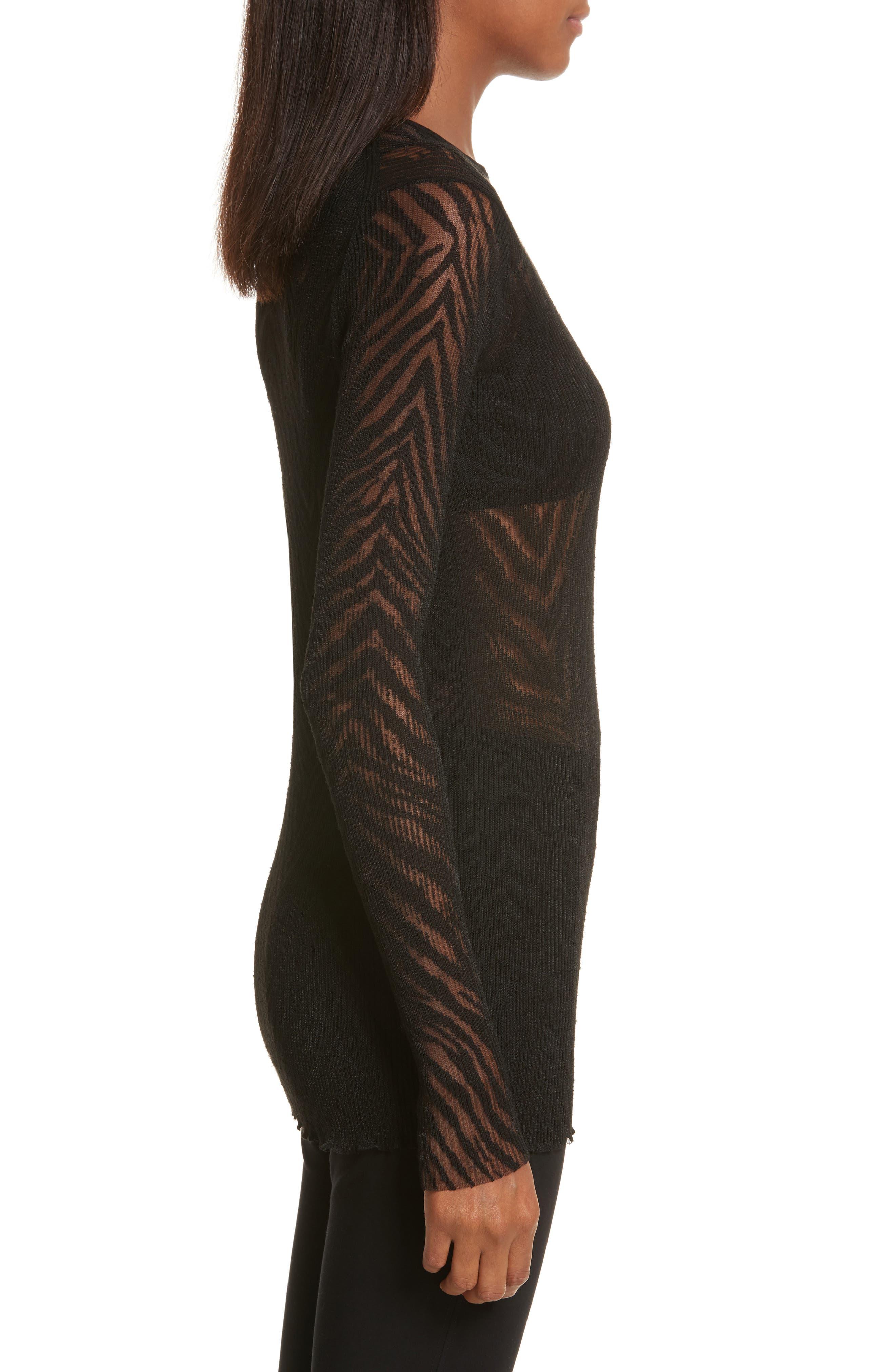 Zebra Knit Pullover,                             Alternate thumbnail 3, color,                             001
