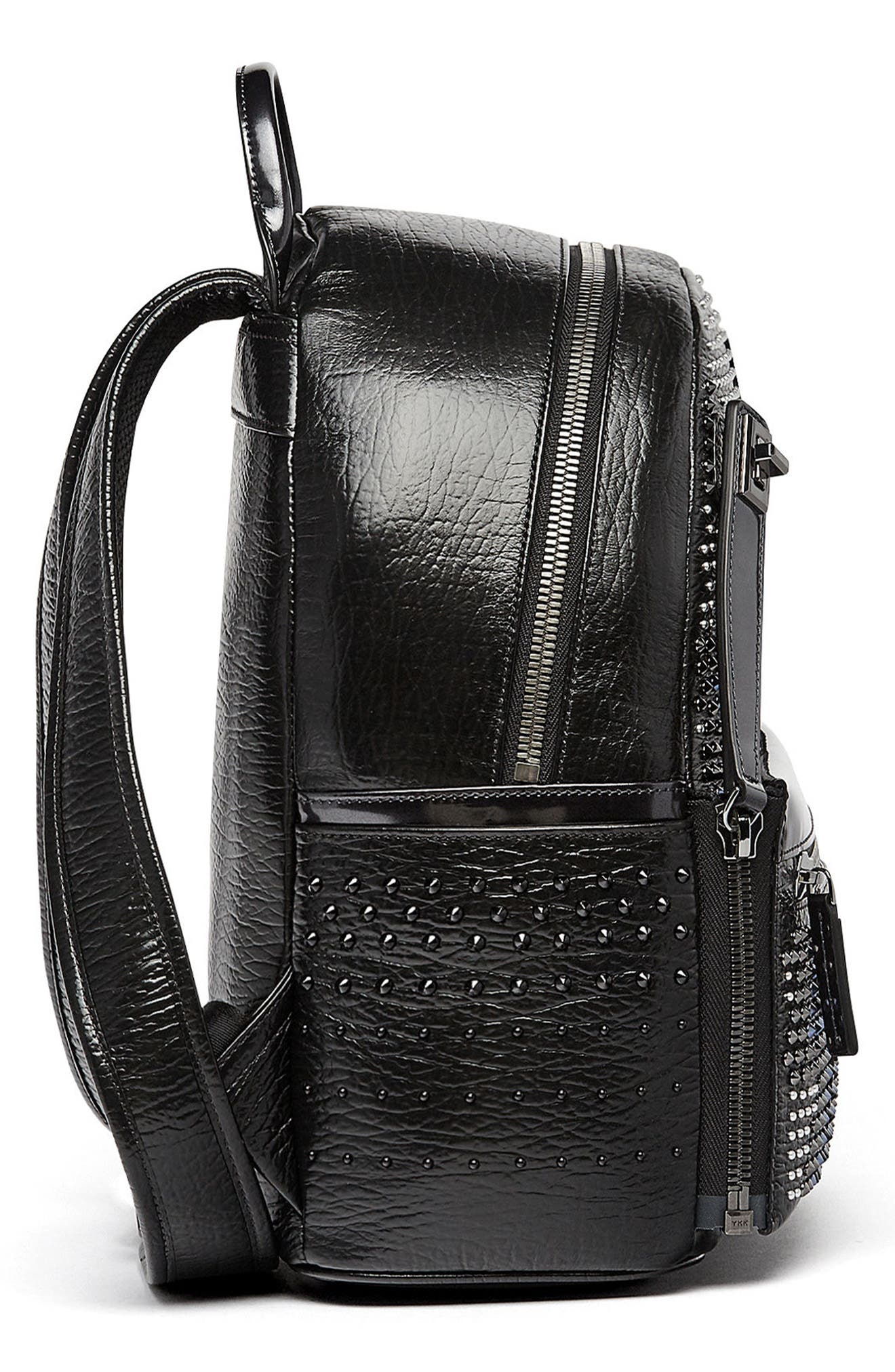 Dual Stark Studded Leather Backpack,                             Alternate thumbnail 5, color,                             001