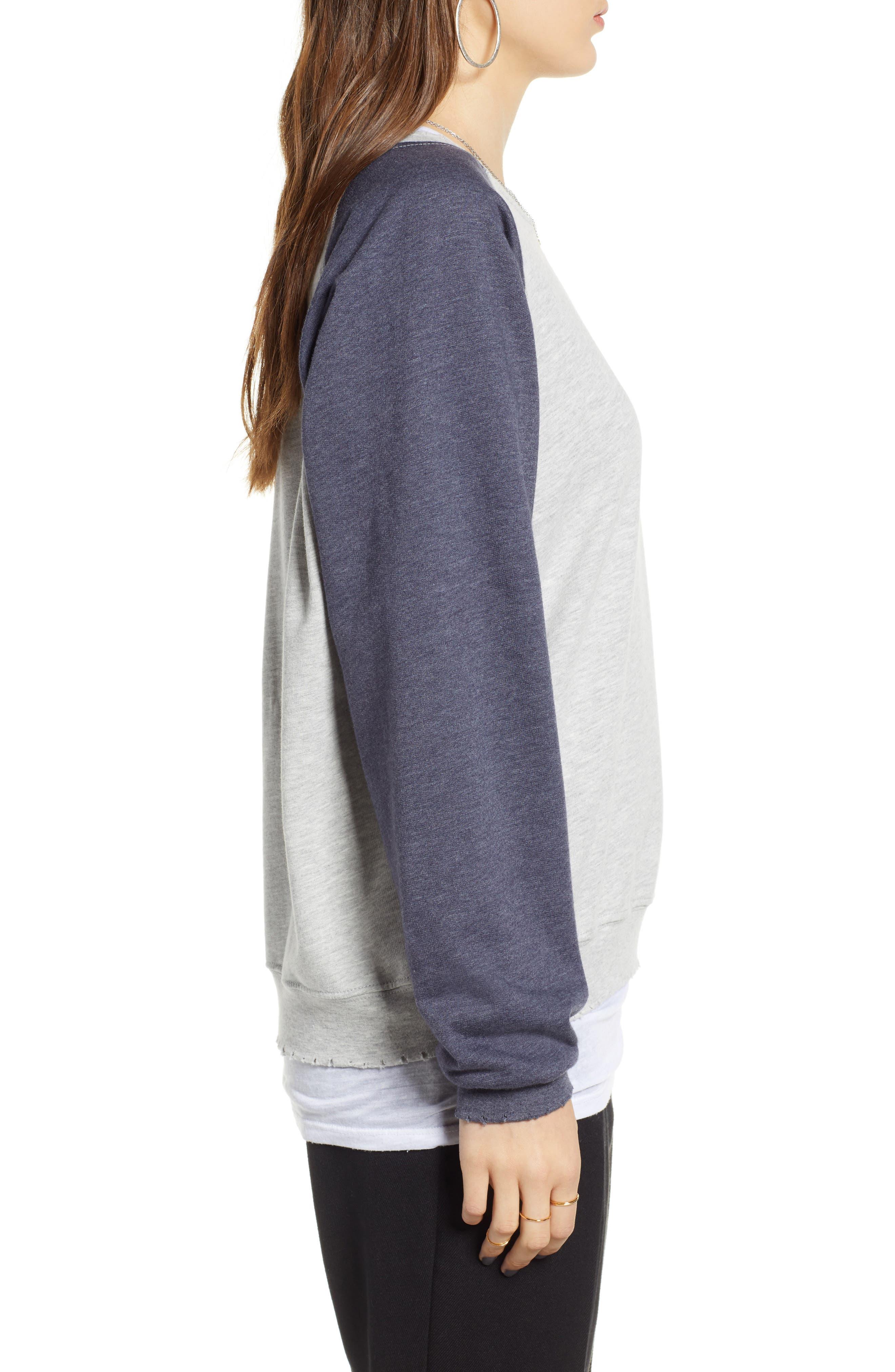 Raglan Sweatshirt,                             Alternate thumbnail 3, color,                             GREY HEATHER- NAVY COMBO