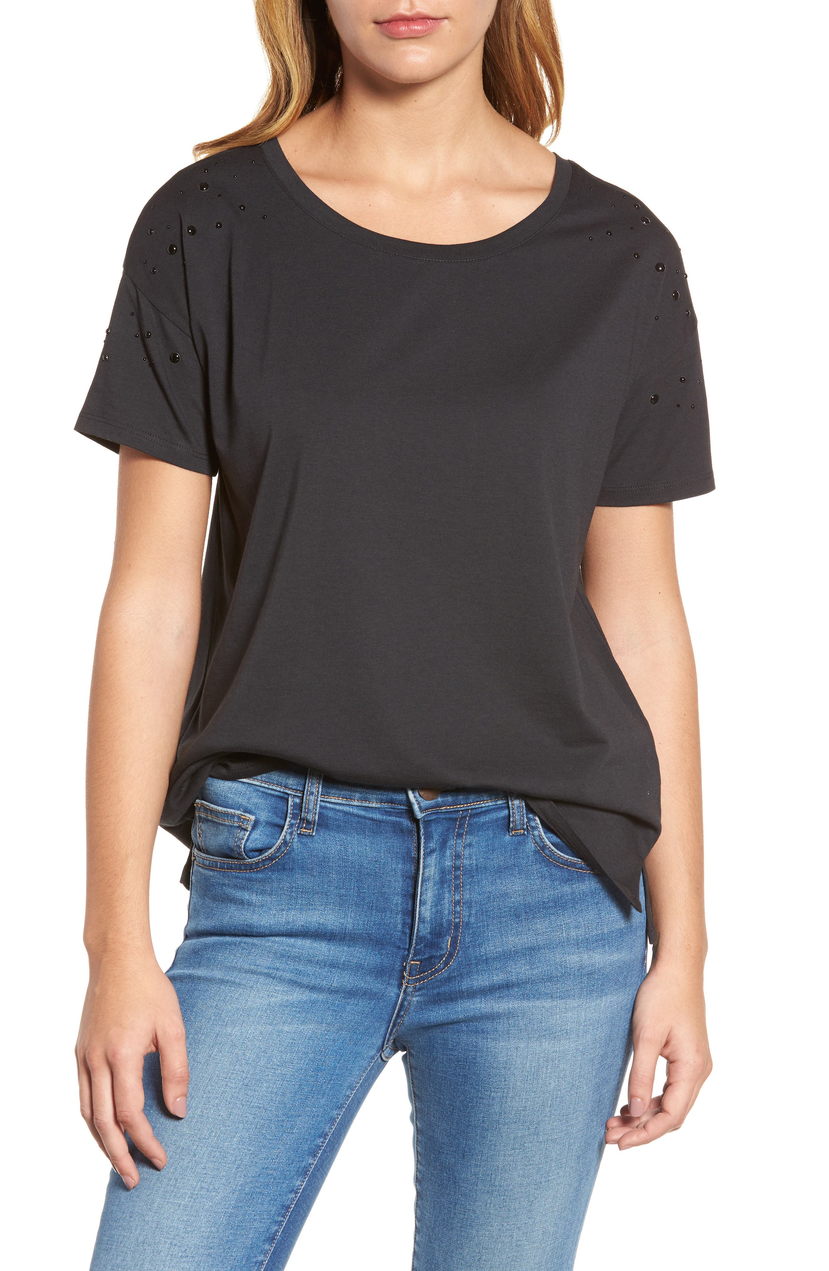 Short Sleeve Pearly T-Shirt,                         Main,                         color,
