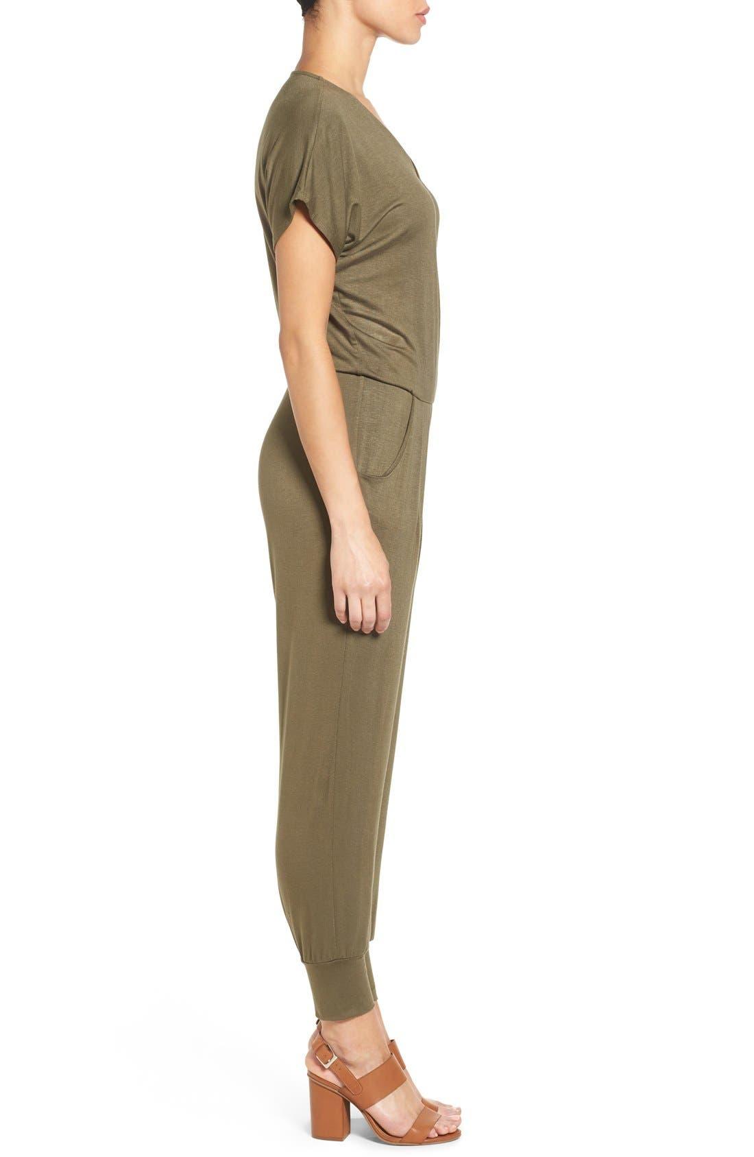 Short Sleeve Wrap Top Jumpsuit,                             Alternate thumbnail 18, color,