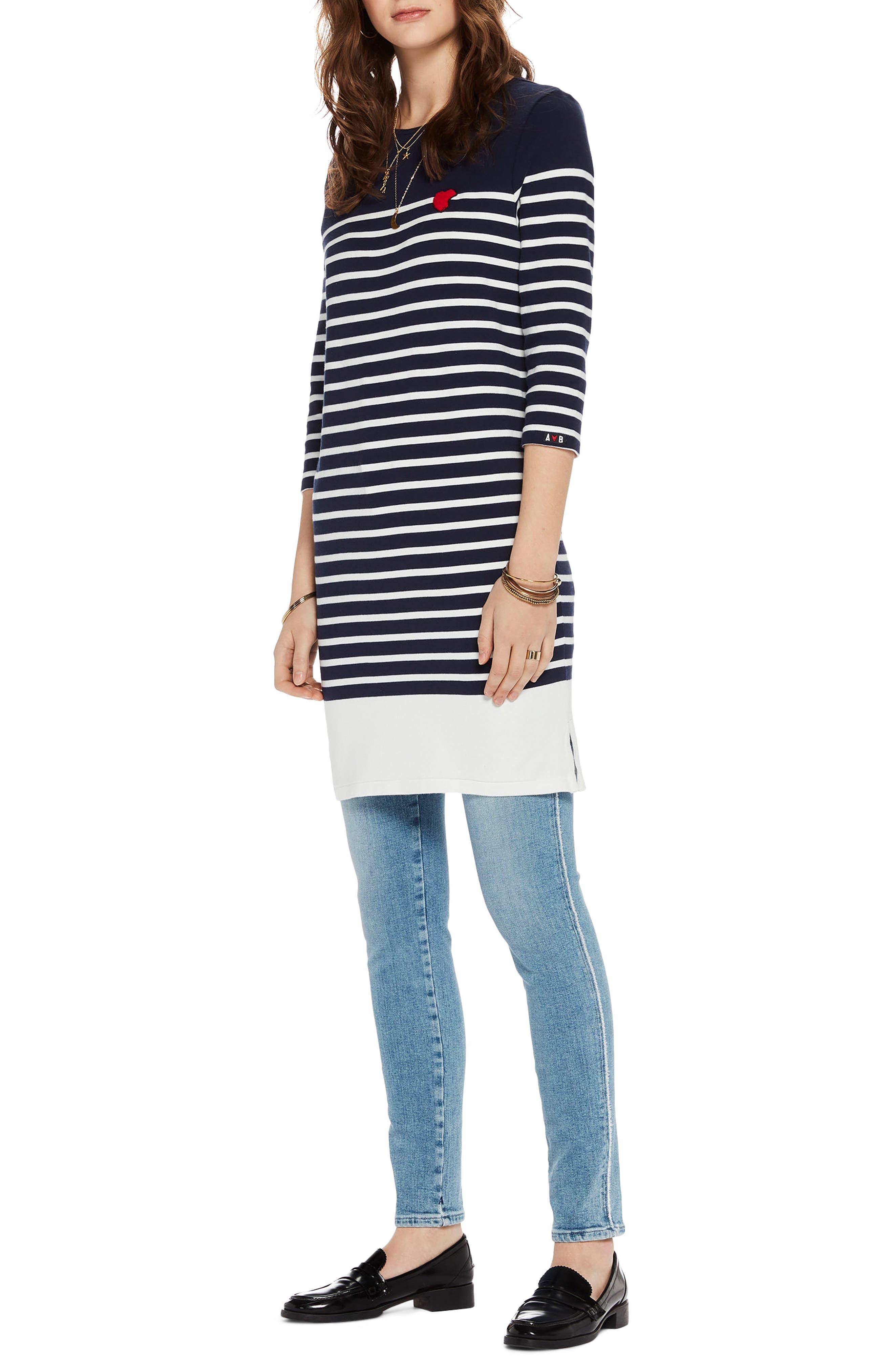 Heart Patch Breton Stripe Dress,                         Main,                         color, 401