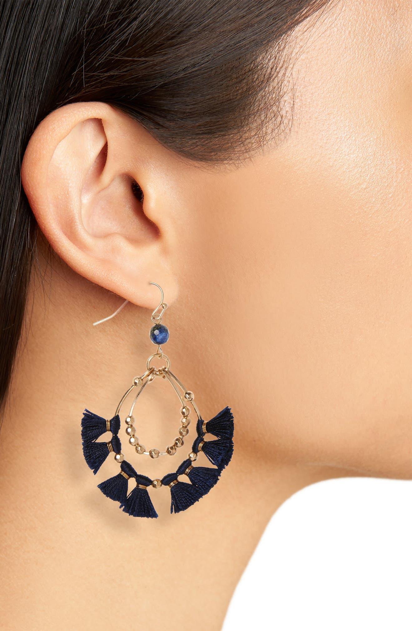 Tassel Hoop Earrings,                             Alternate thumbnail 2, color,