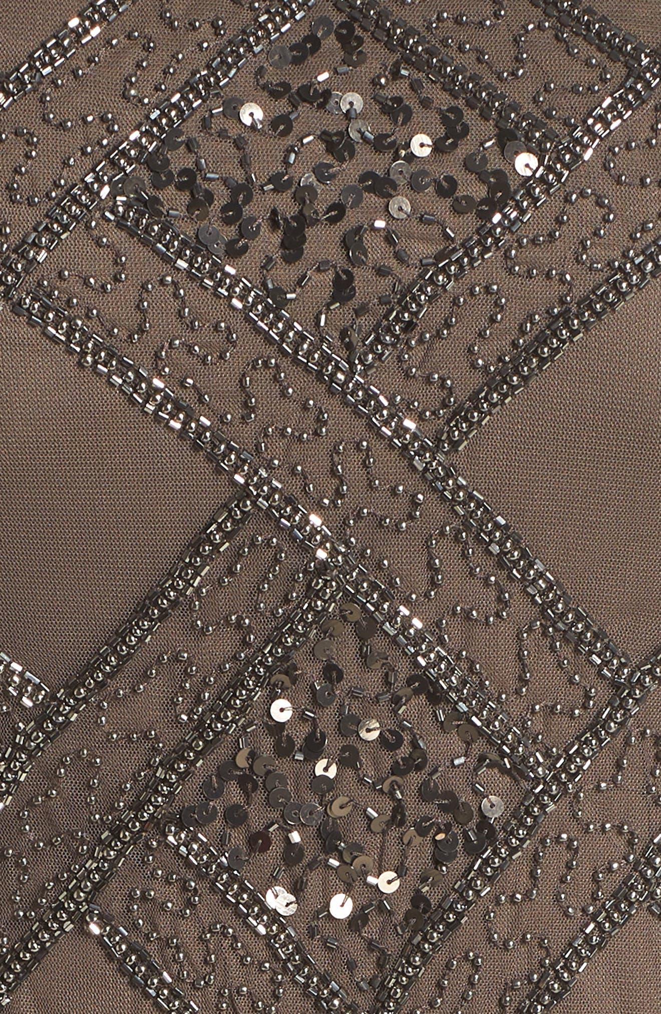 ADRIANNA PAPELL,                             Beaded Cap Sleeve Sheath Dress,                             Alternate thumbnail 5, color,                             050