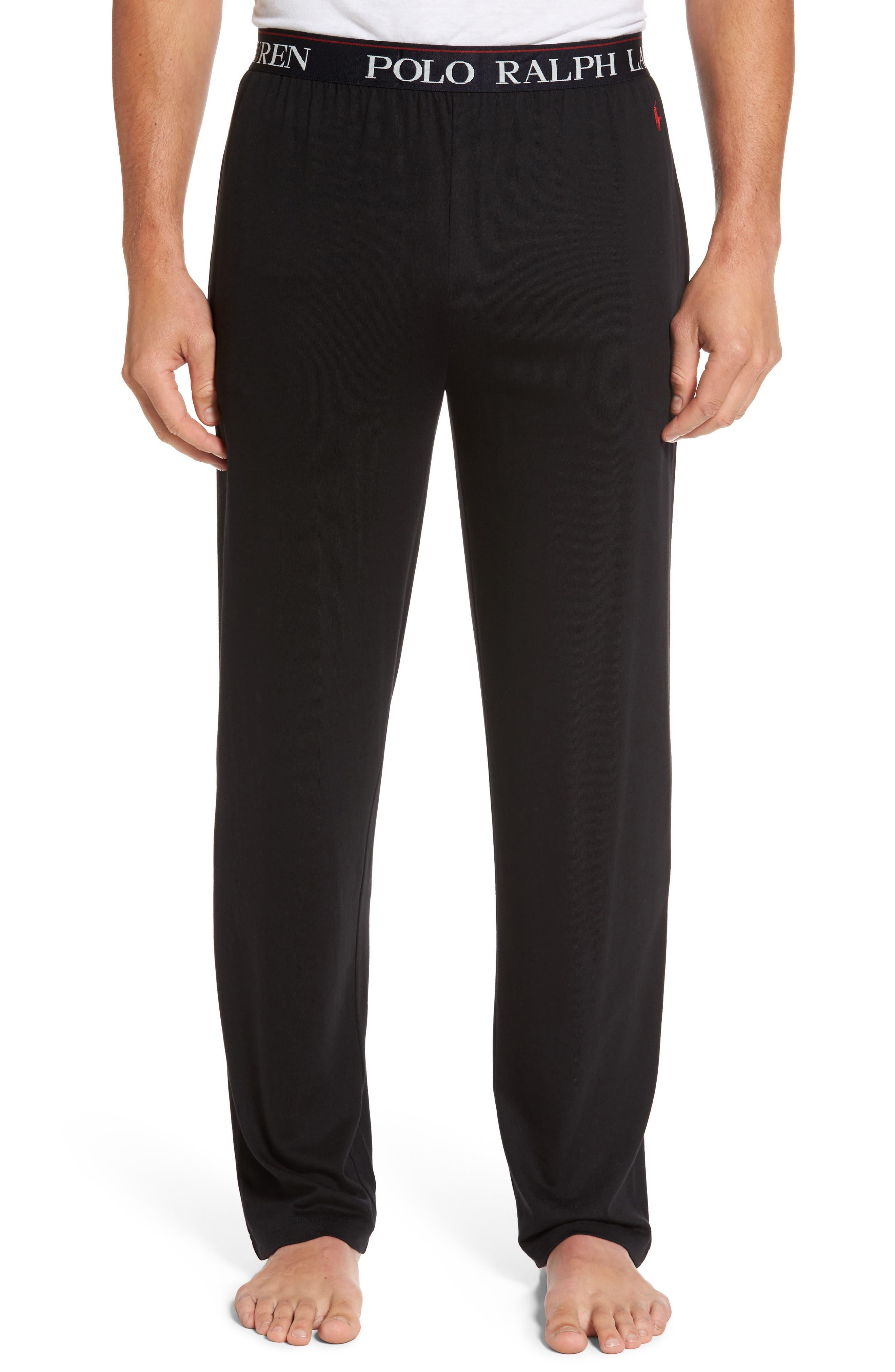 Cotton & Modal Lounge Pants,                         Main,                         color, POLO BLACK