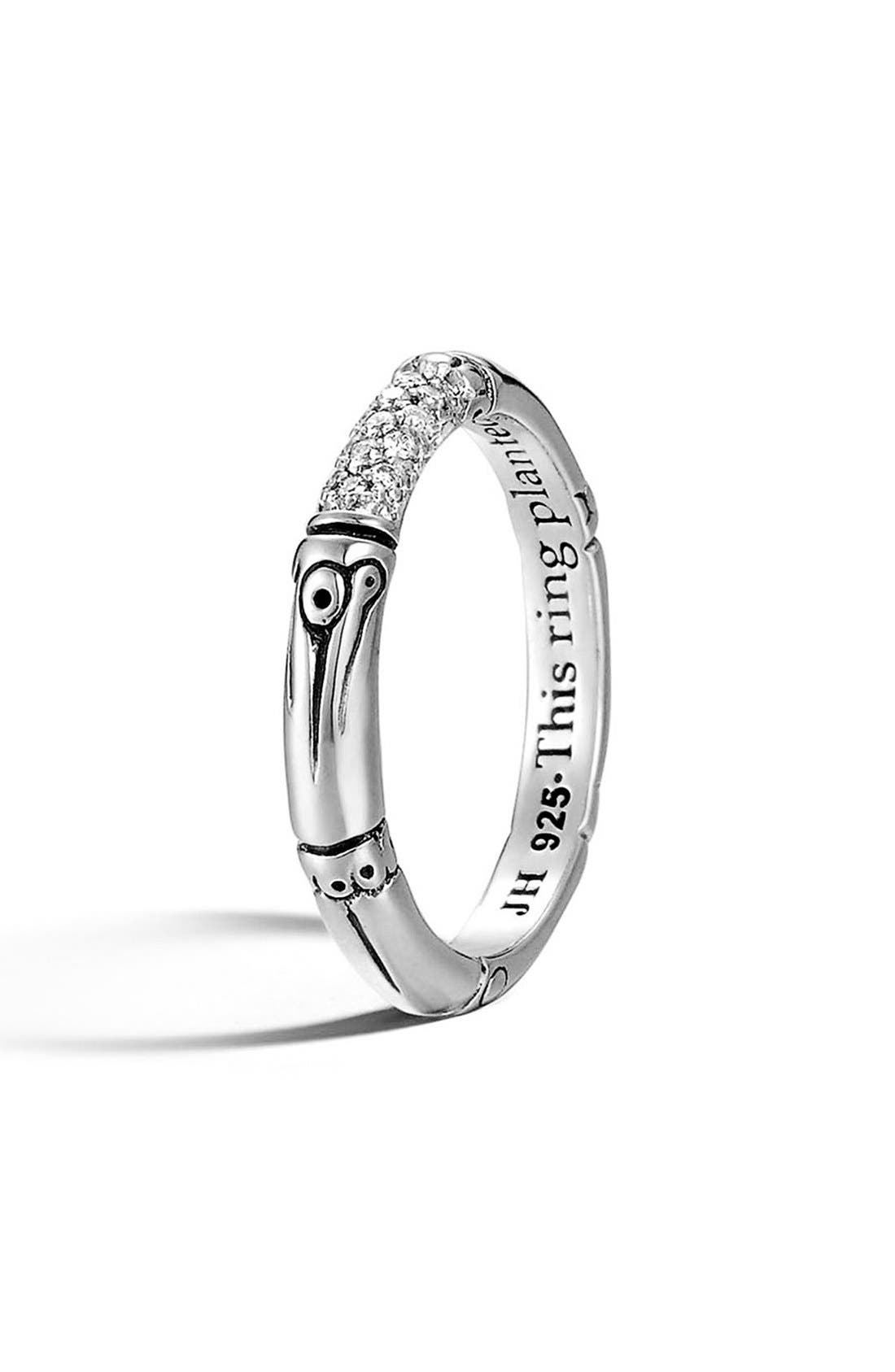 'Bamboo' Pavé Diamond Ring,                         Main,                         color, STERLING SILVER