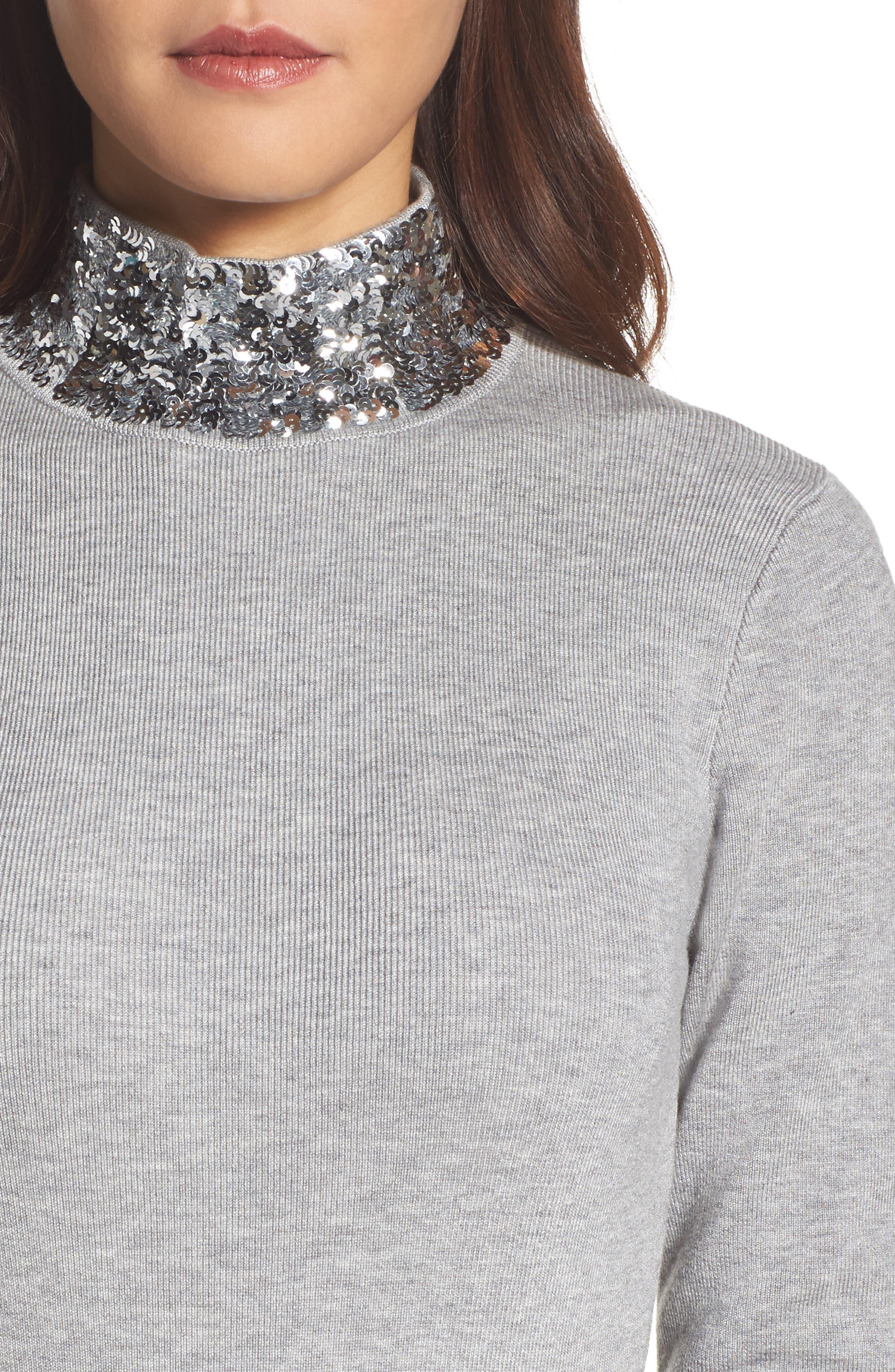 Sequin Mock Neck Sweater,                             Alternate thumbnail 4, color,                             030