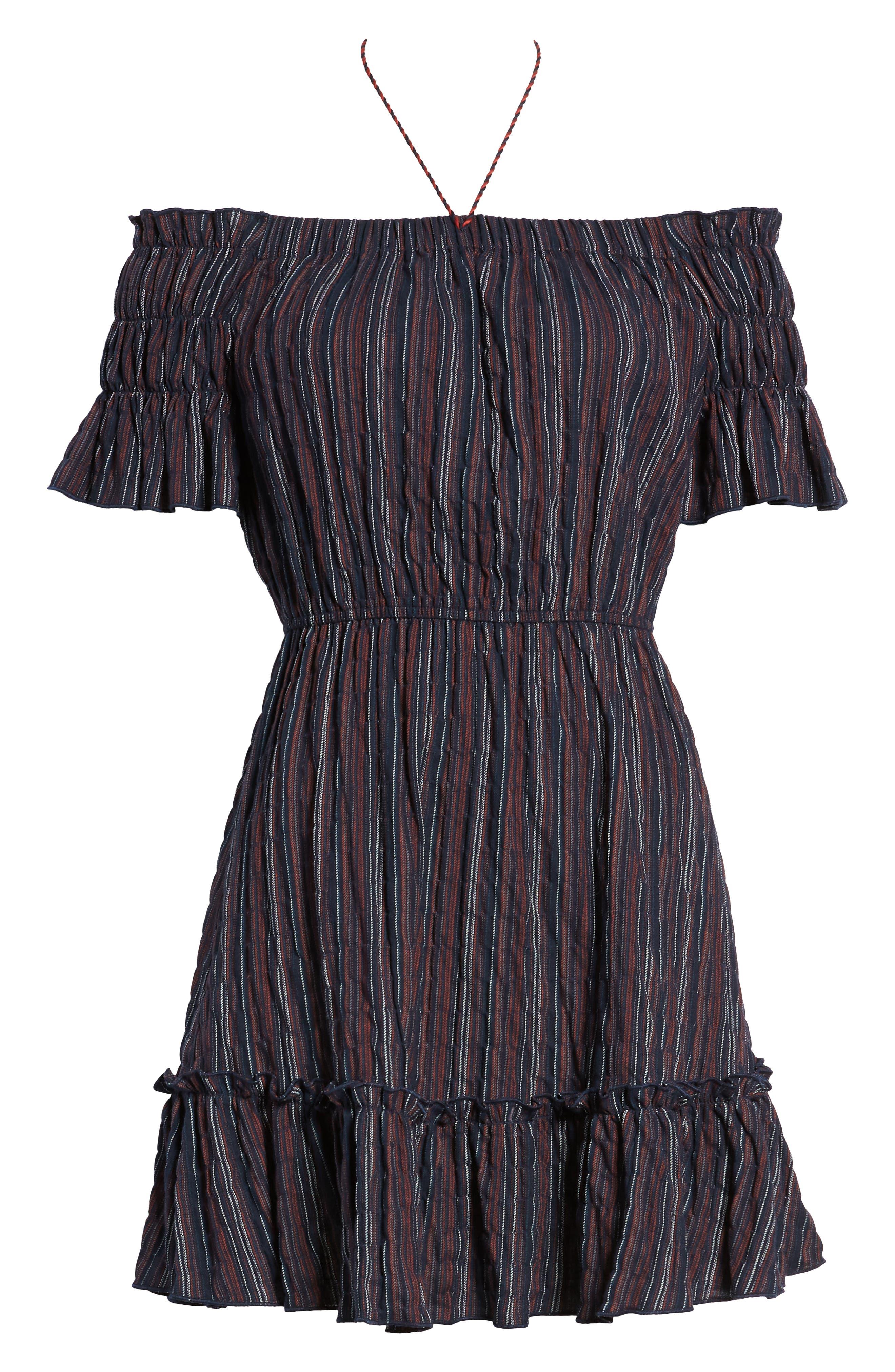 Stripe Off the Shoulder Dress,                             Alternate thumbnail 7, color,                             411