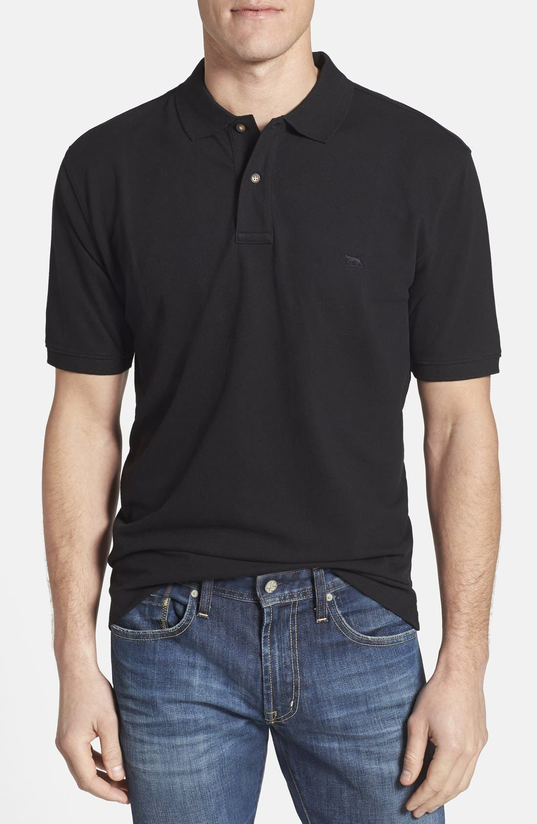 'Devonport' Original Fit Stretch Cotton Piqué Polo,                         Main,                         color, 001