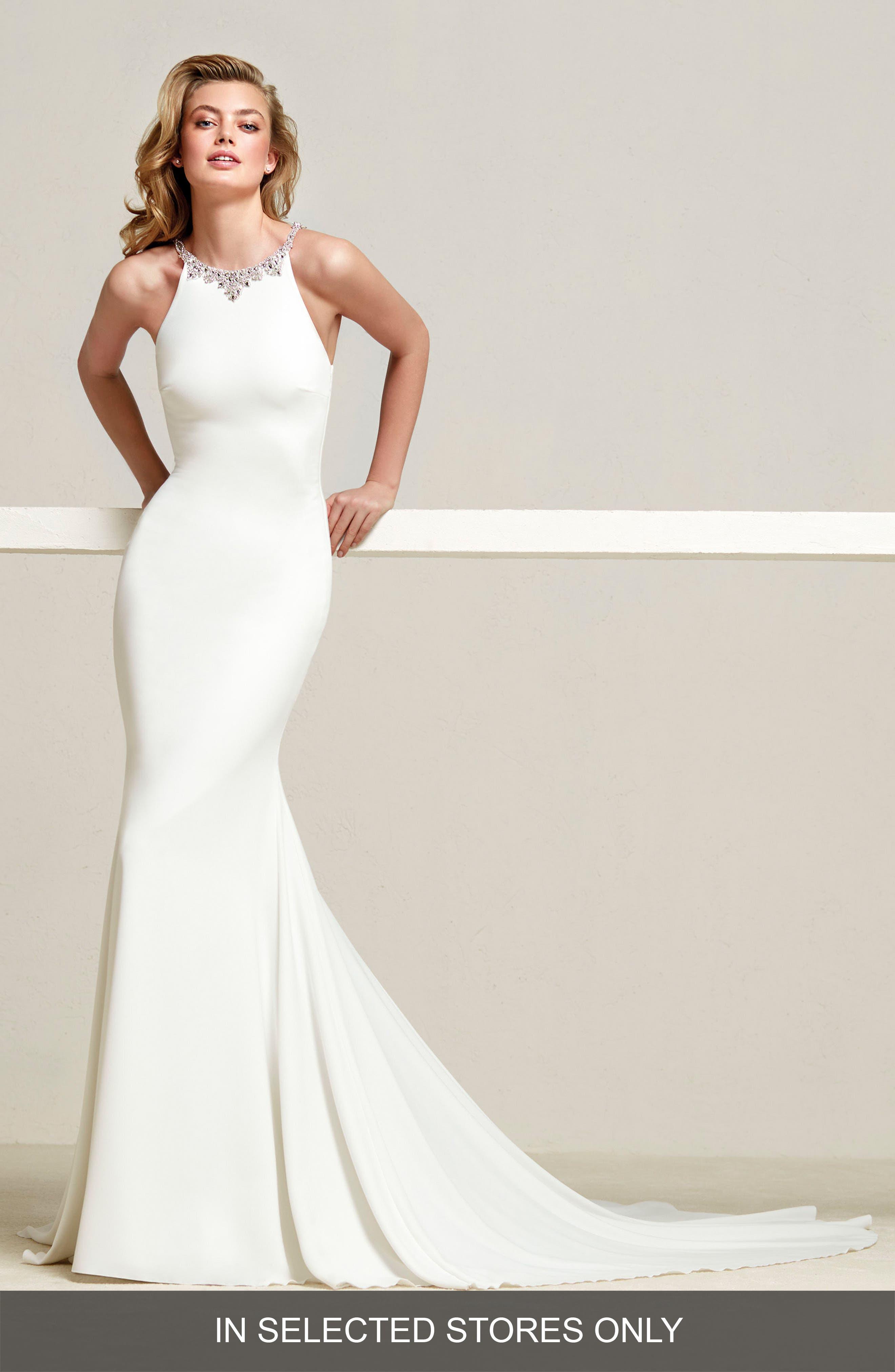 Dreba Jeweled Back Crepe Mermaid Gown,                             Main thumbnail 1, color,                             OFF WHITE/CRYSTAL