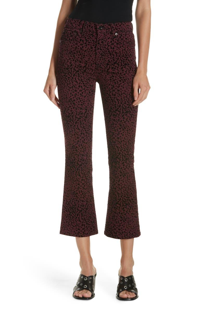 Hana High Waist Crop Flare Jeans,                         Main,                         color, BURG CHEETAH