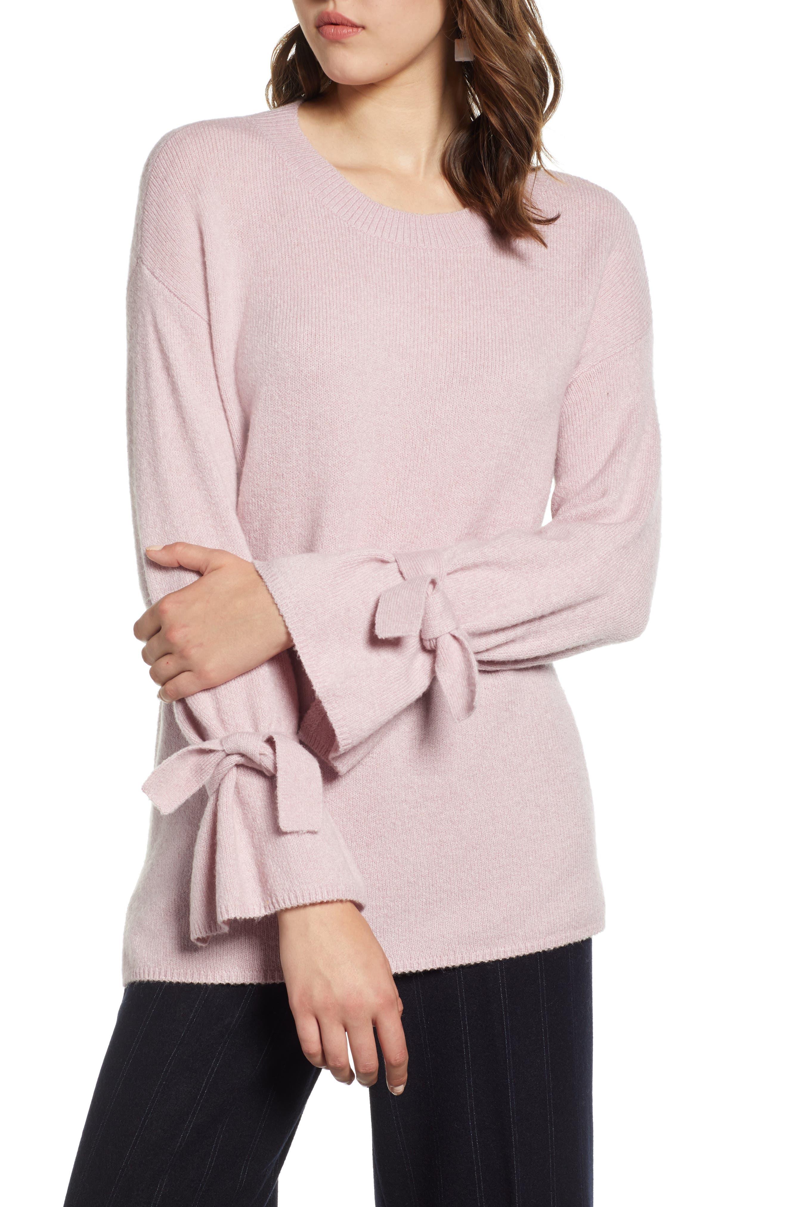 Halogen Tie Sleeve Wool Blend Sweater, Purple
