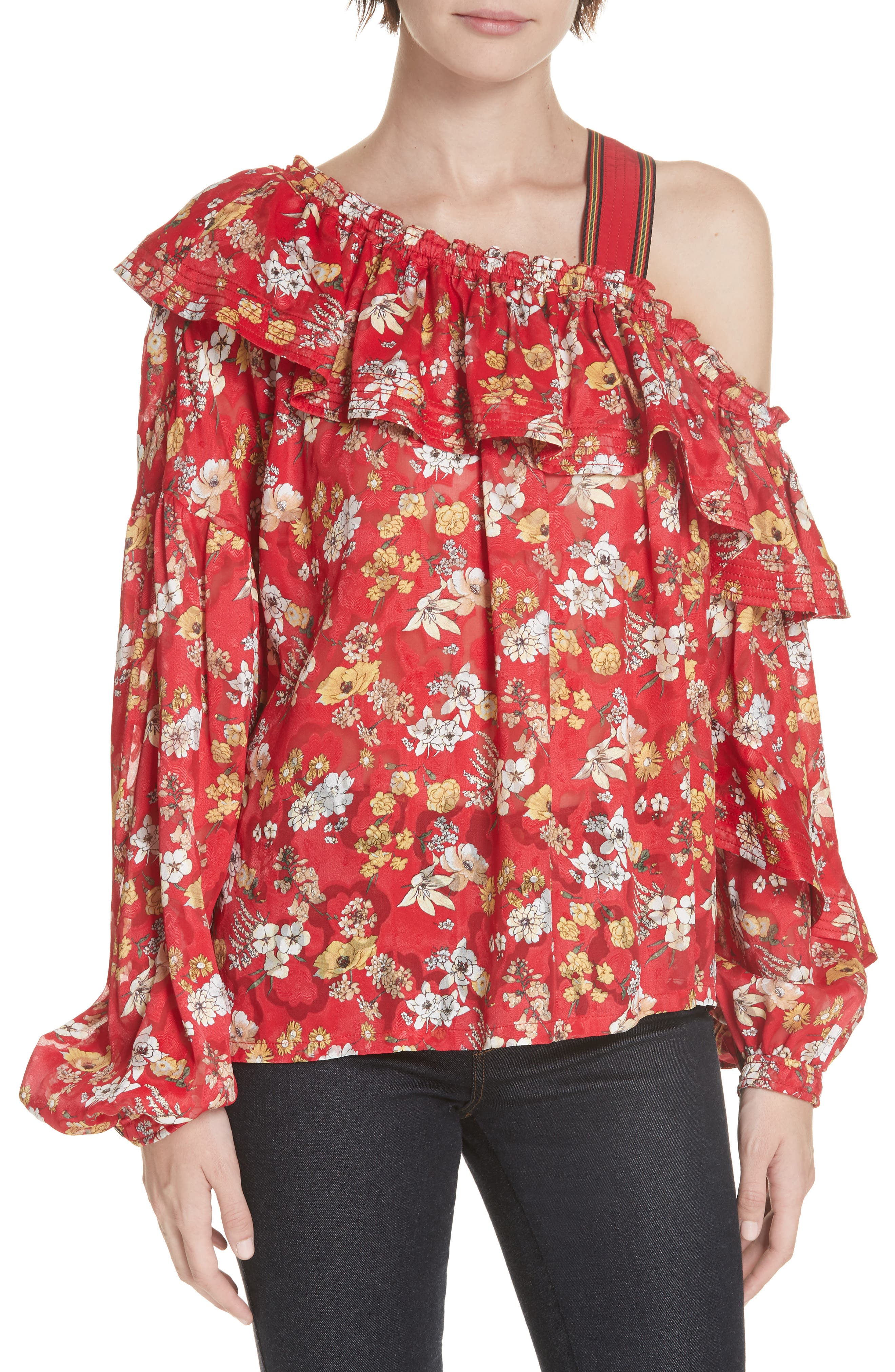 One-Shoulder Floral Blouse,                             Main thumbnail 1, color,                             RED