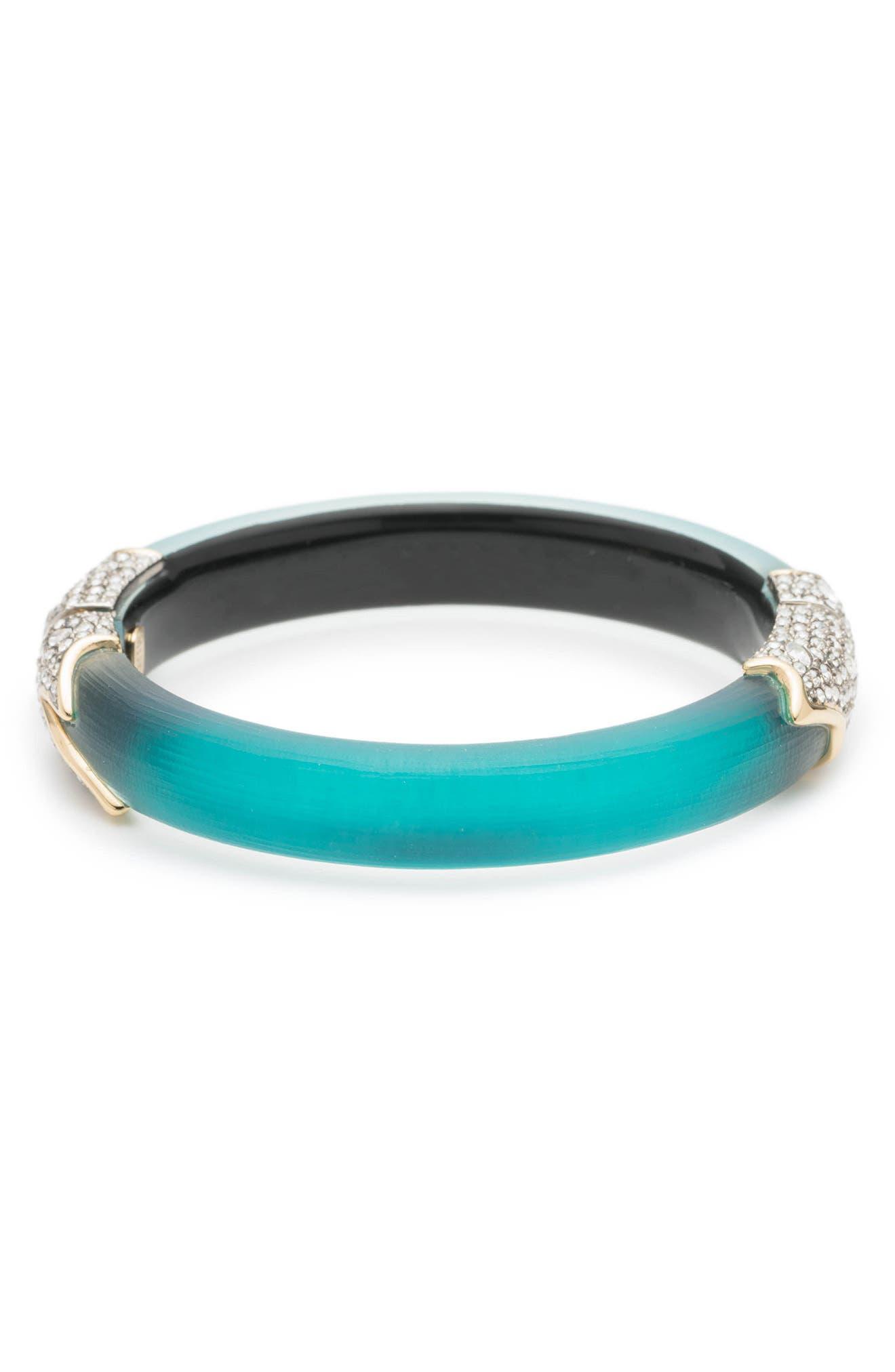 Crystal Encrusted Feather Hinge Bracelet,                         Main,                         color, 400