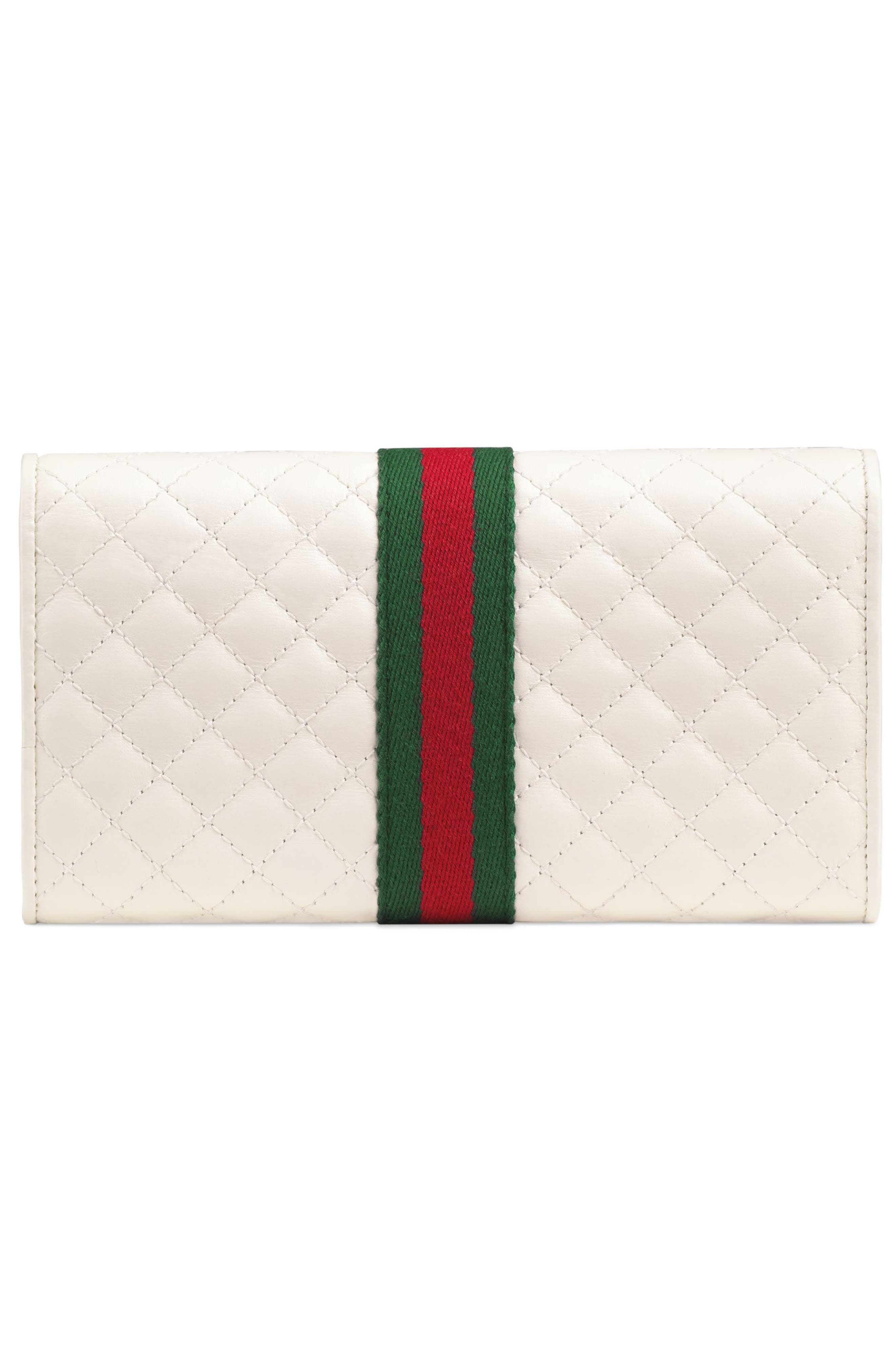 Quilted Leather Continental Wallet,                             Alternate thumbnail 3, color,                             OFF WHITE/ VERT/ RED