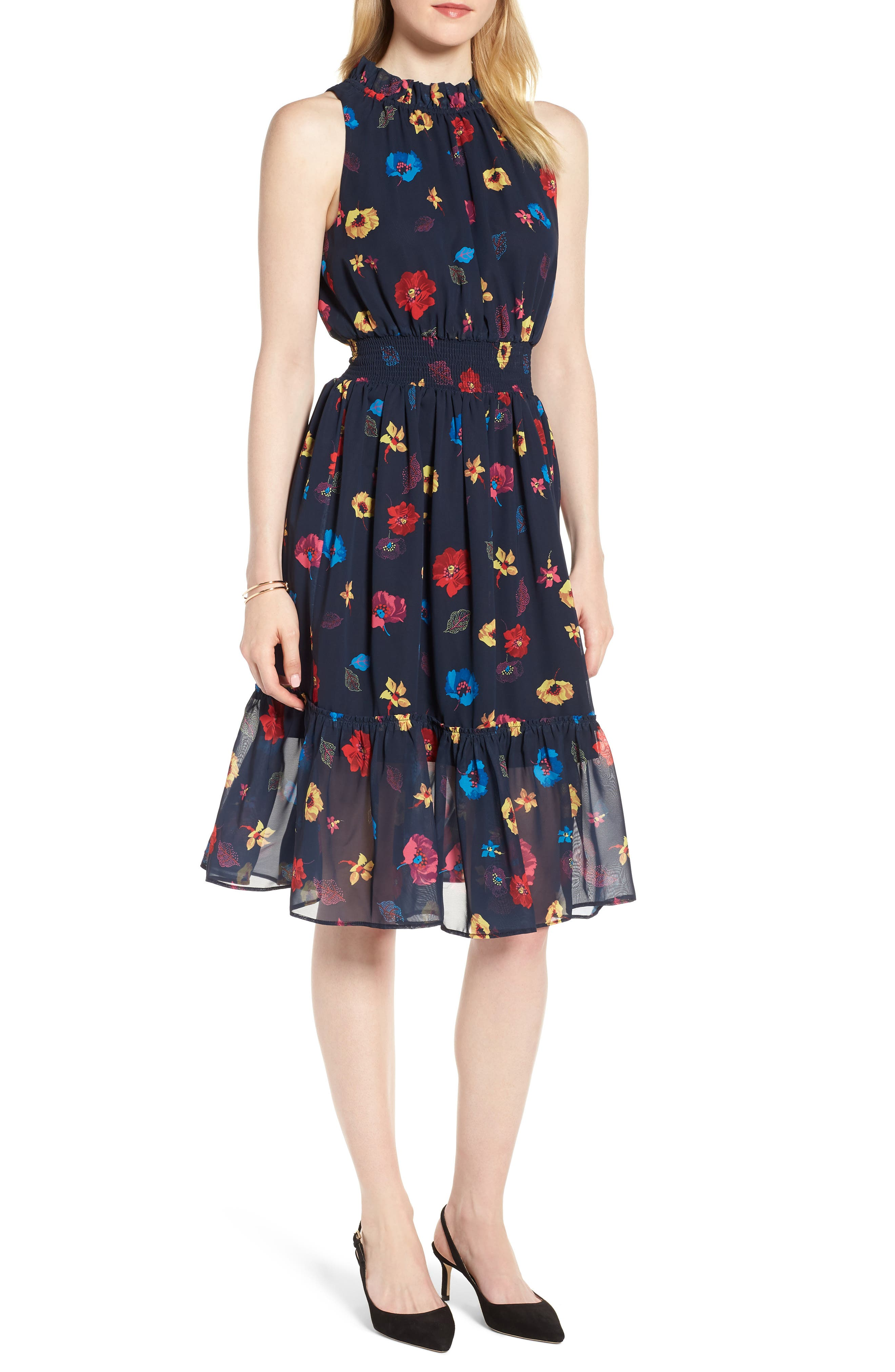 Floral Chiffon Fit & Flare Dress,                             Main thumbnail 1, color,                             NAVY POP FLOWER