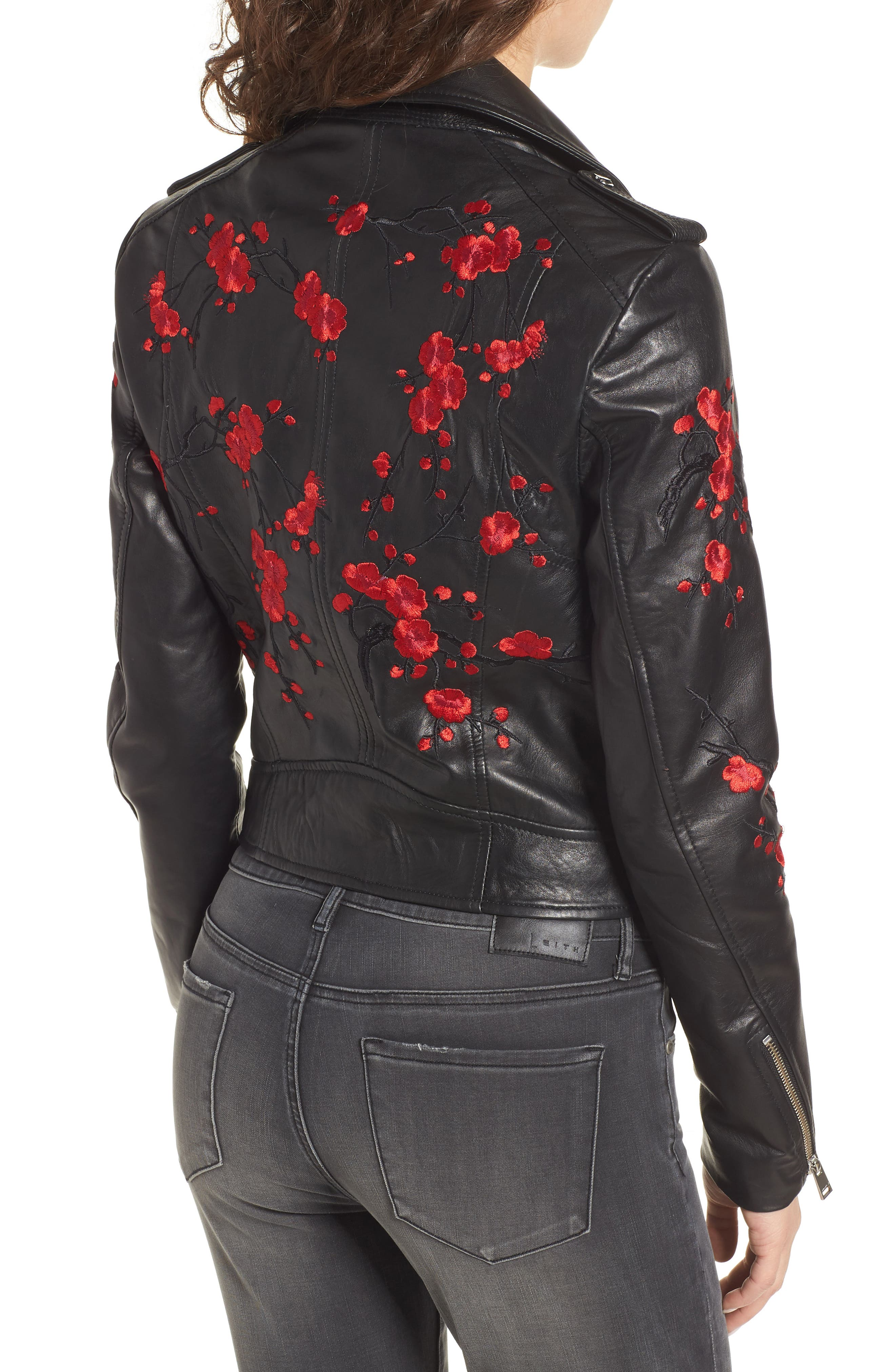 Embroidered Leather Moto Jacket,                             Alternate thumbnail 2, color,                             BLACK WITH RED EMBROIDERY