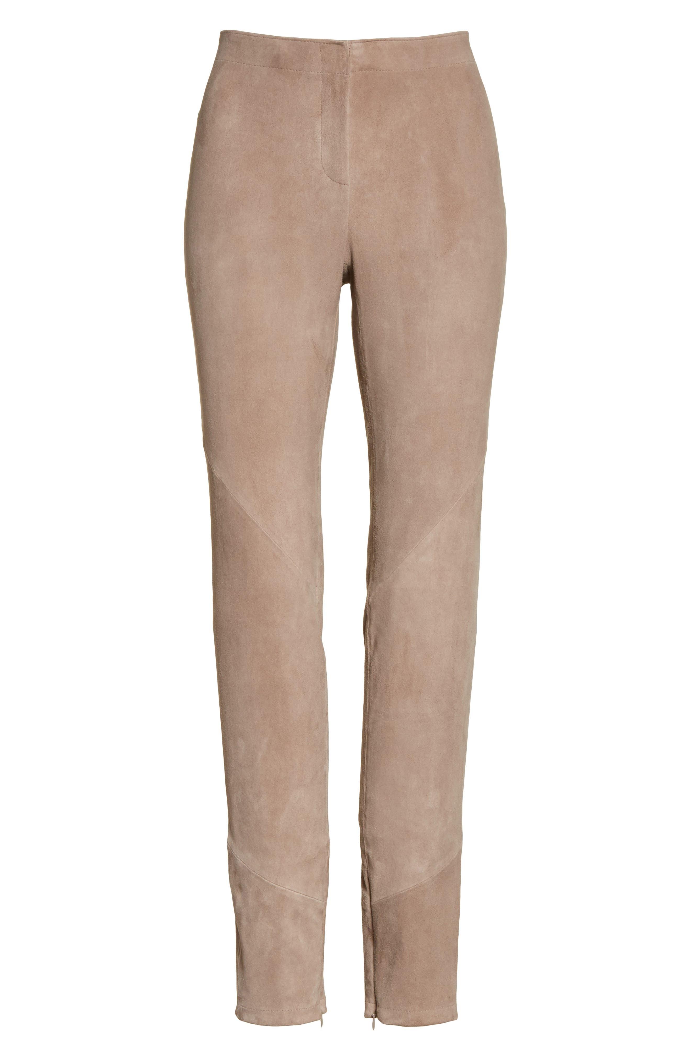 Slim Suede Pants,                             Alternate thumbnail 6, color,                             250