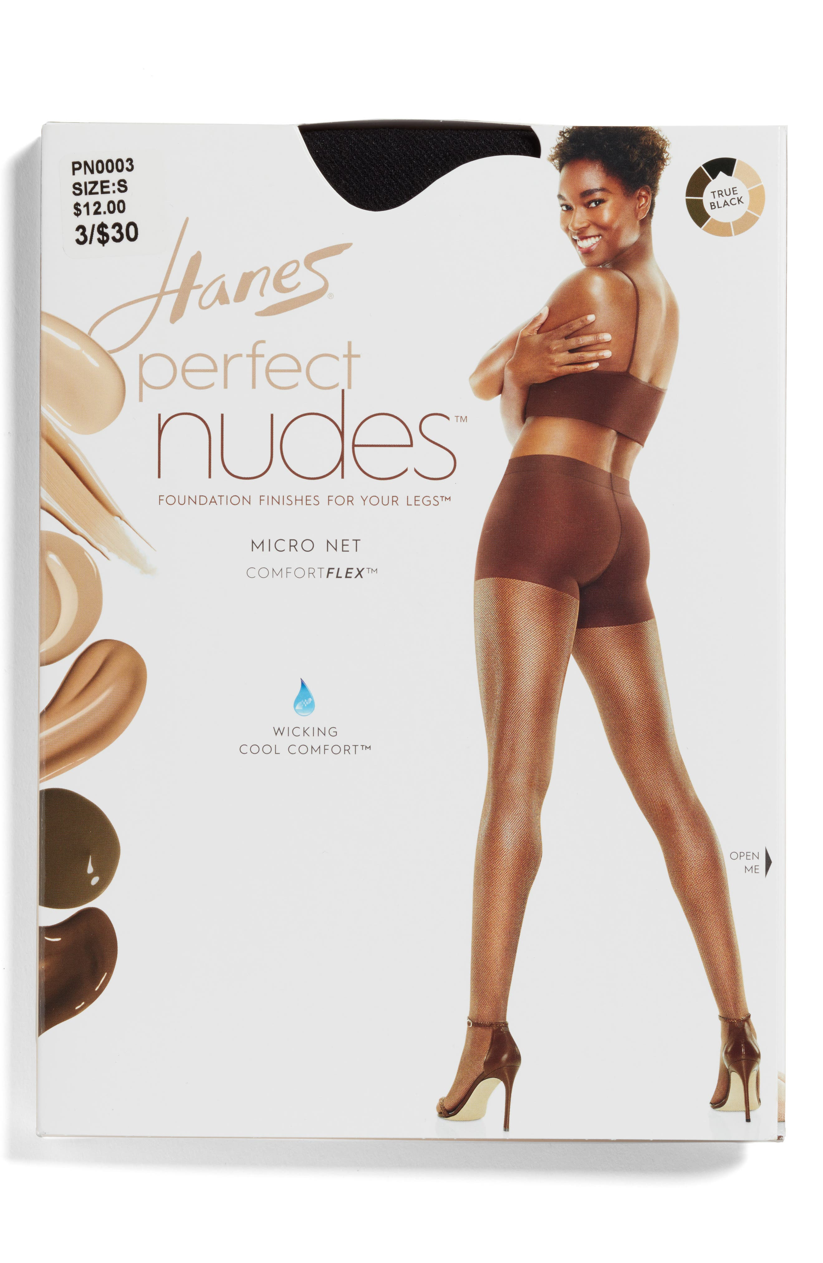 Perfect Nudes Micro Net Pantyhose,                             Alternate thumbnail 2, color,                             001