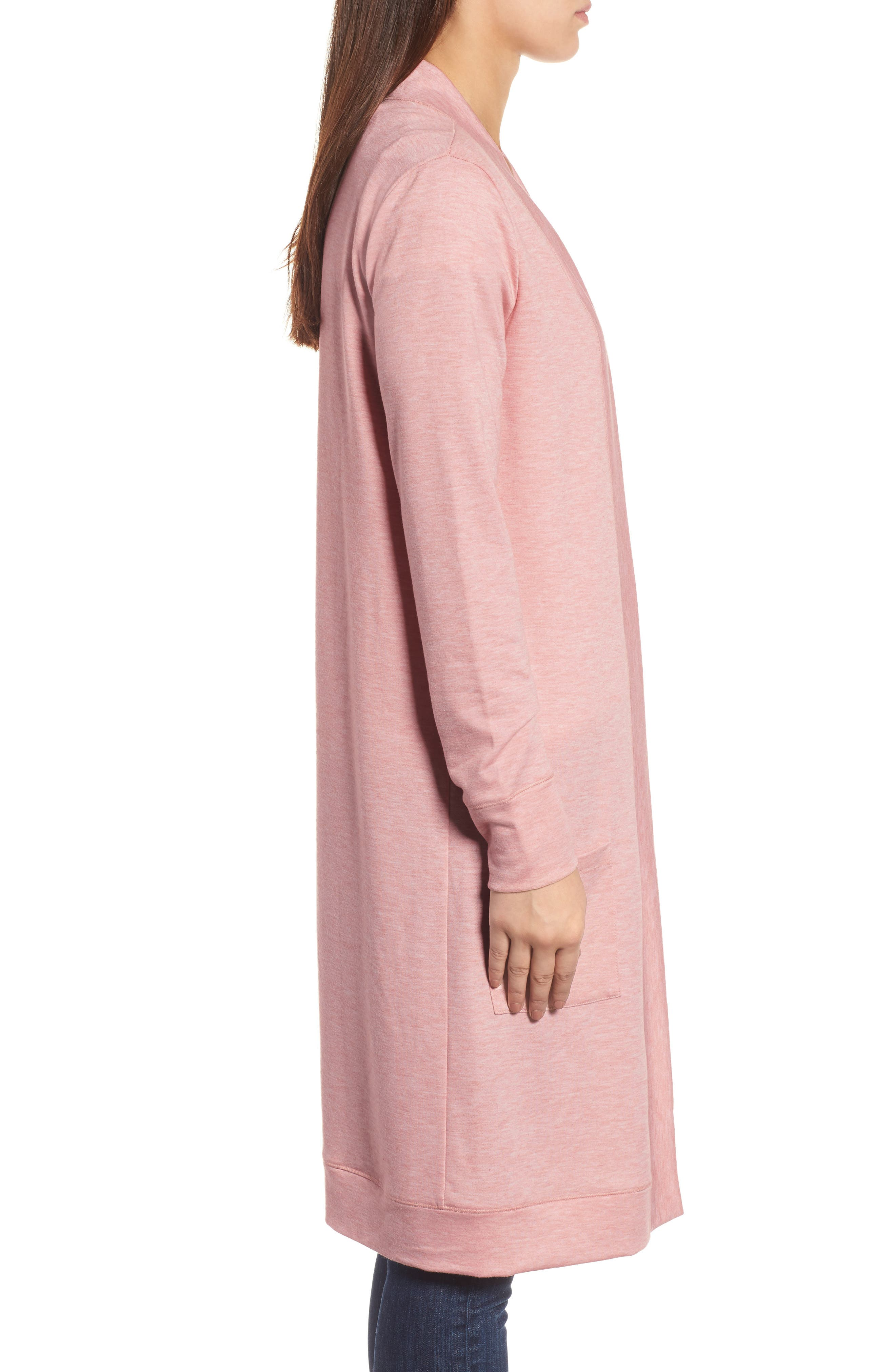Long French Terry Cardigan,                             Alternate thumbnail 15, color,