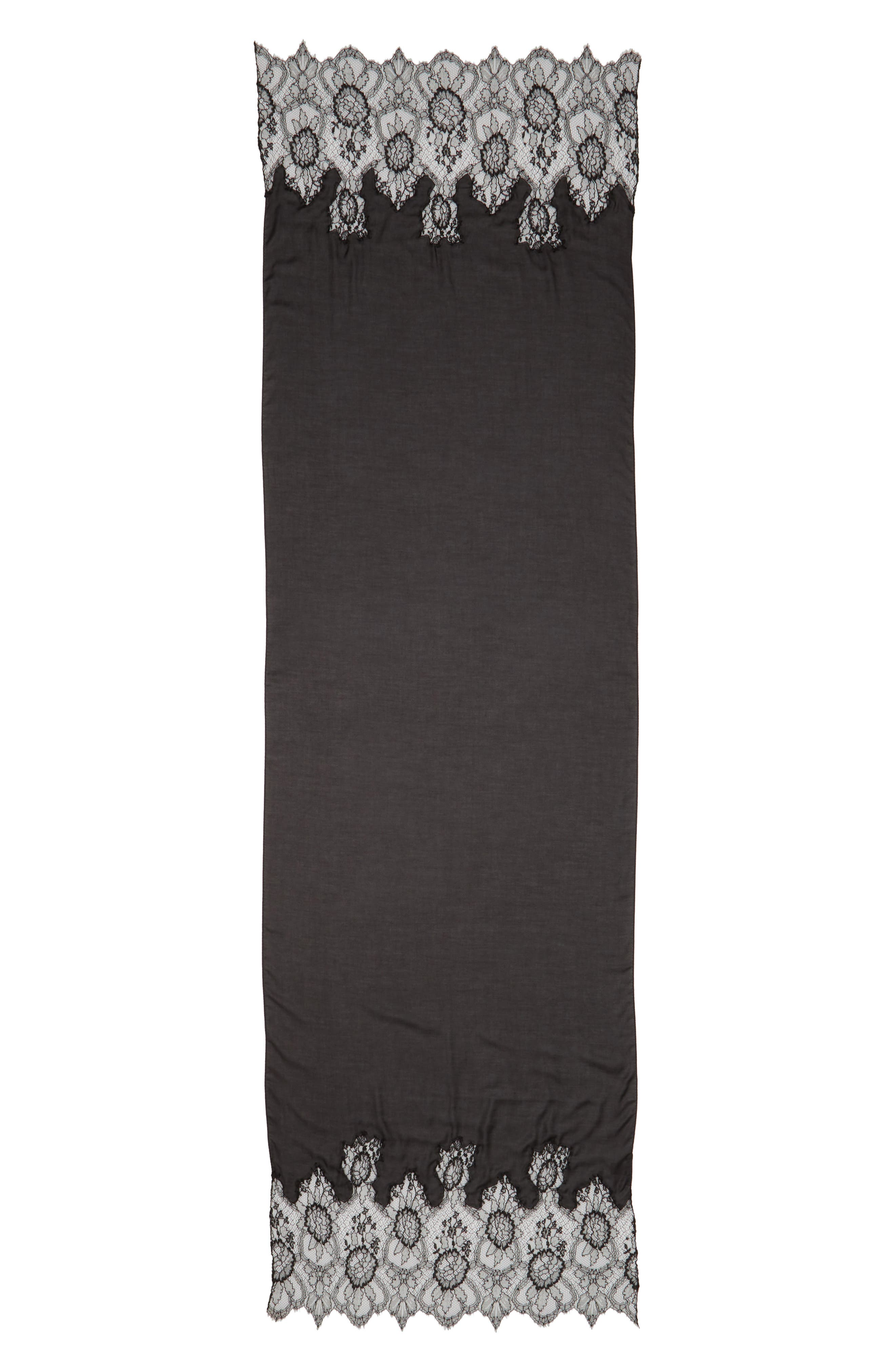 Lace Trim Modal & Cashmere Scarf,                             Main thumbnail 1, color,                             NERO/ NERO