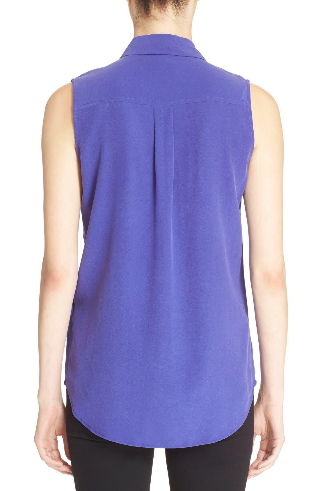 'Slim Signature' Sleeveless Silk Shirt,                             Alternate thumbnail 122, color,