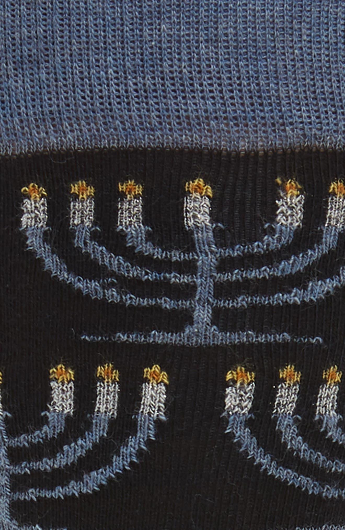Holiday Menorah Socks,                             Alternate thumbnail 2, color,                             001