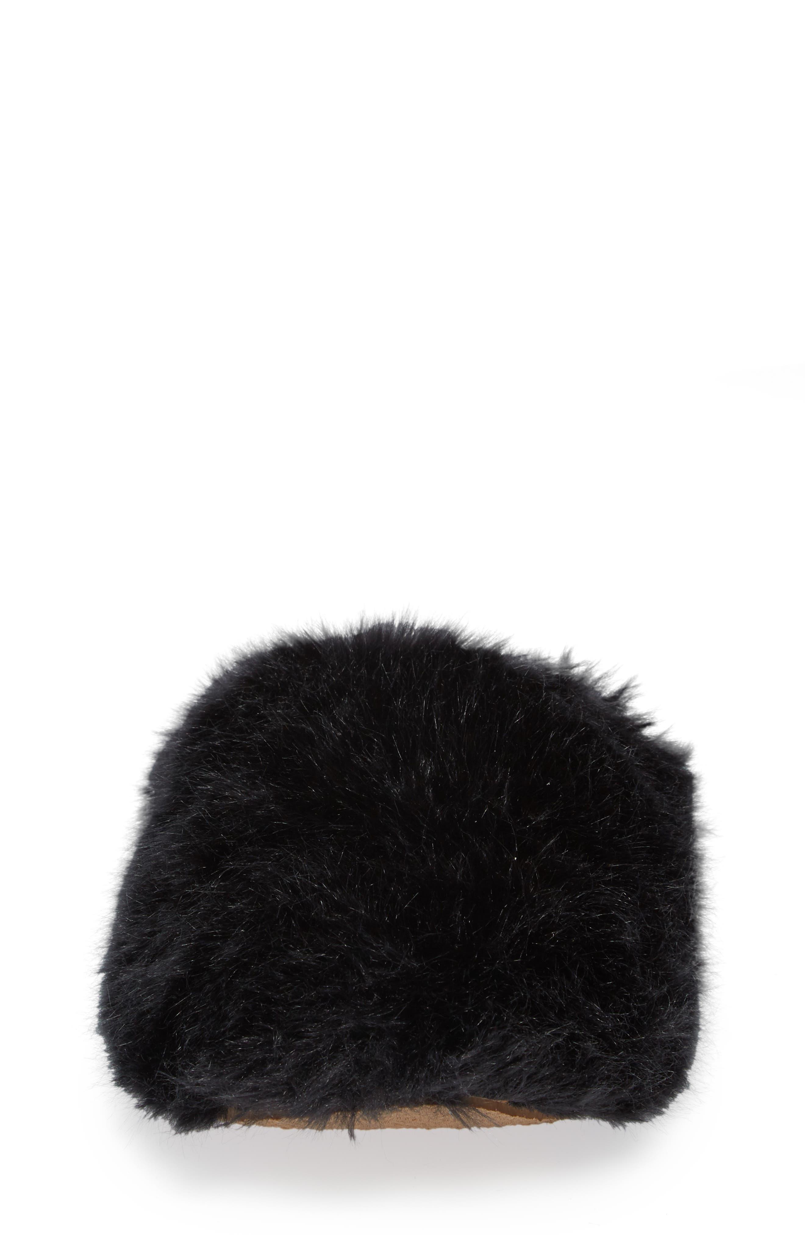 Faux Fur Slipper,                             Alternate thumbnail 4, color,                             BLACK