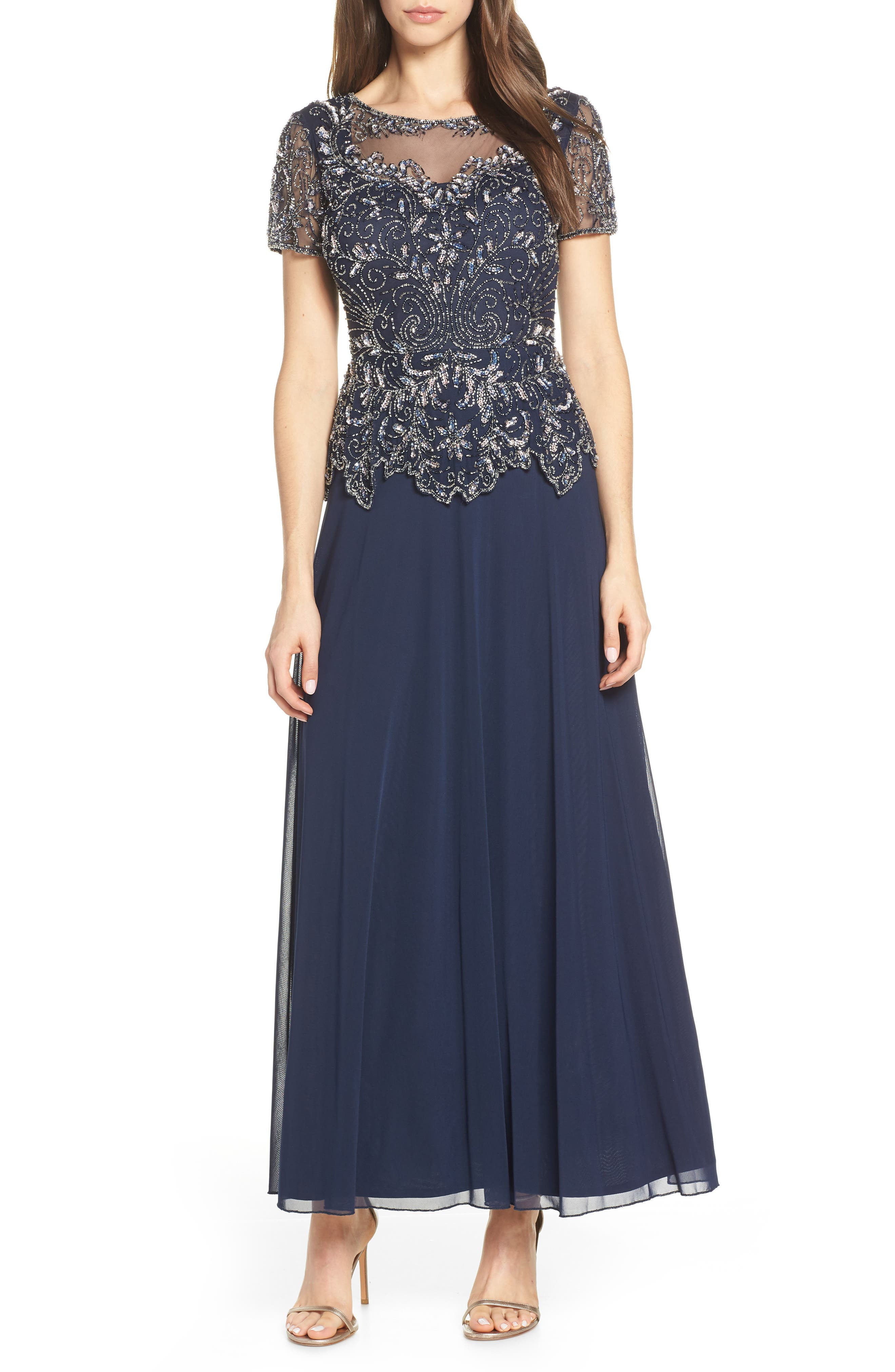 Pisarro Nights Embellished Mesh Bodice Evening Dress, Blue