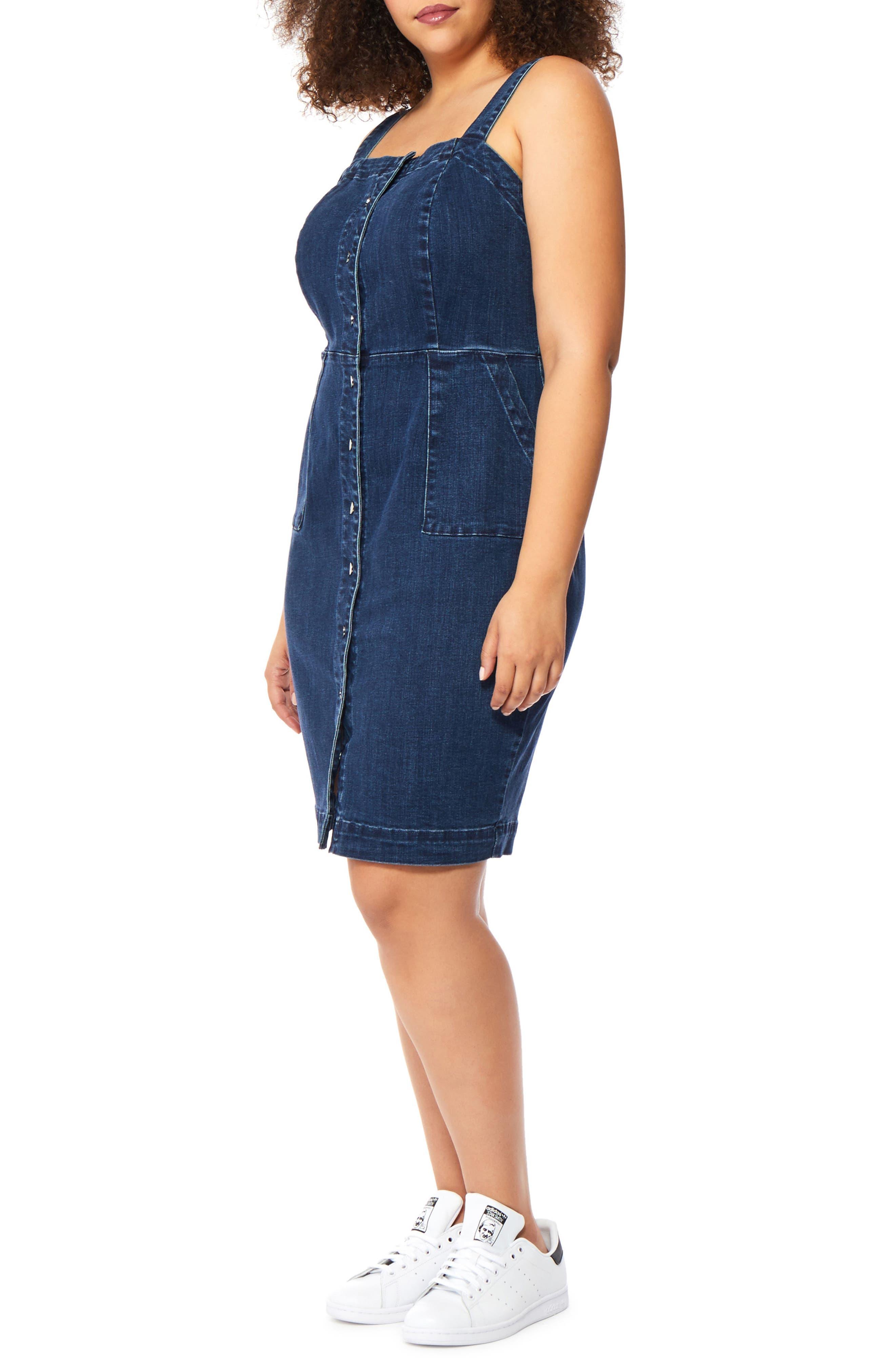 Denim Body-Con Dress,                             Alternate thumbnail 5, color,                             401