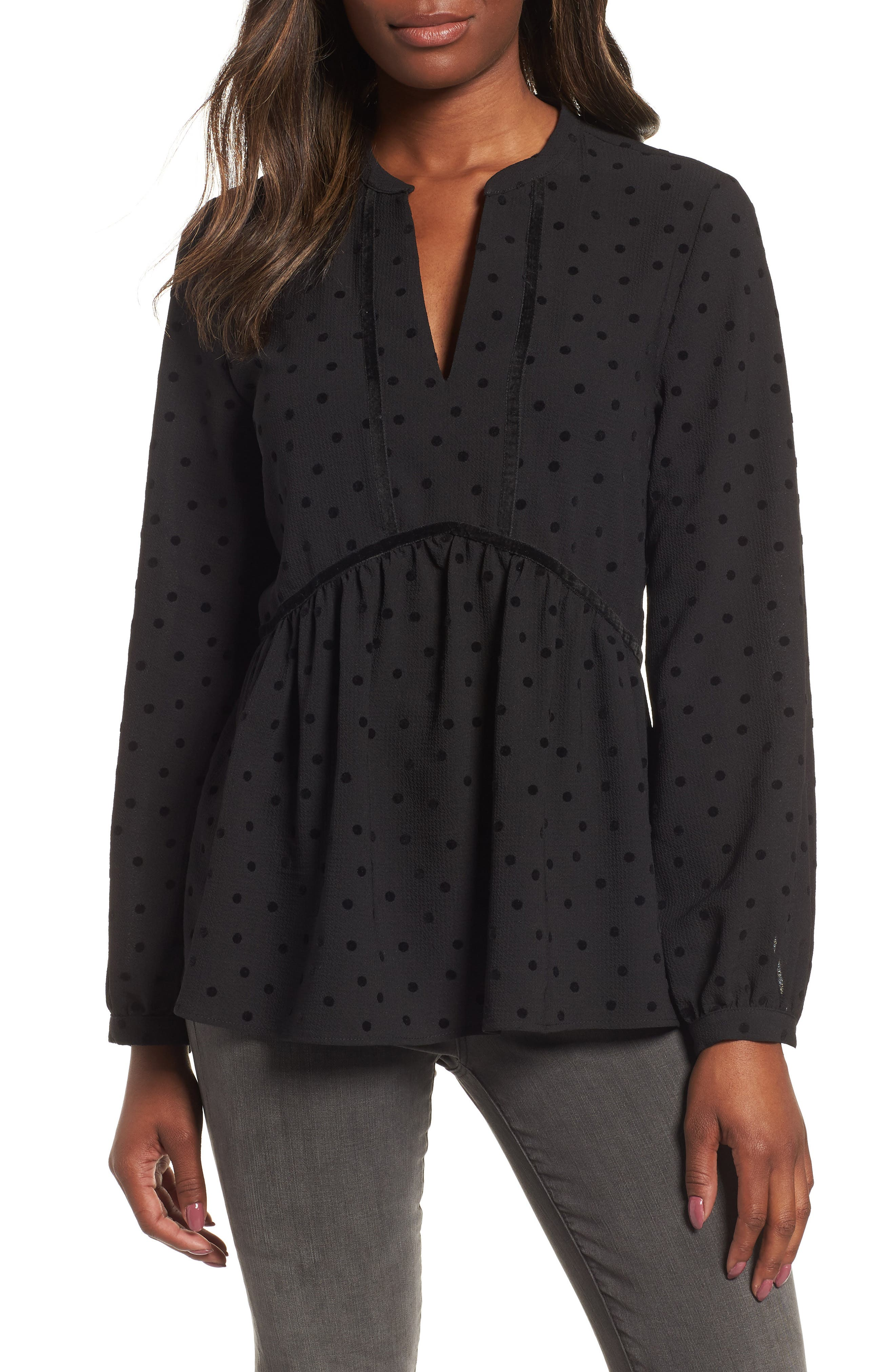 GIBSON x Glam Squad Woven Flocked Dot Peplum Blouse, Main, color, 001