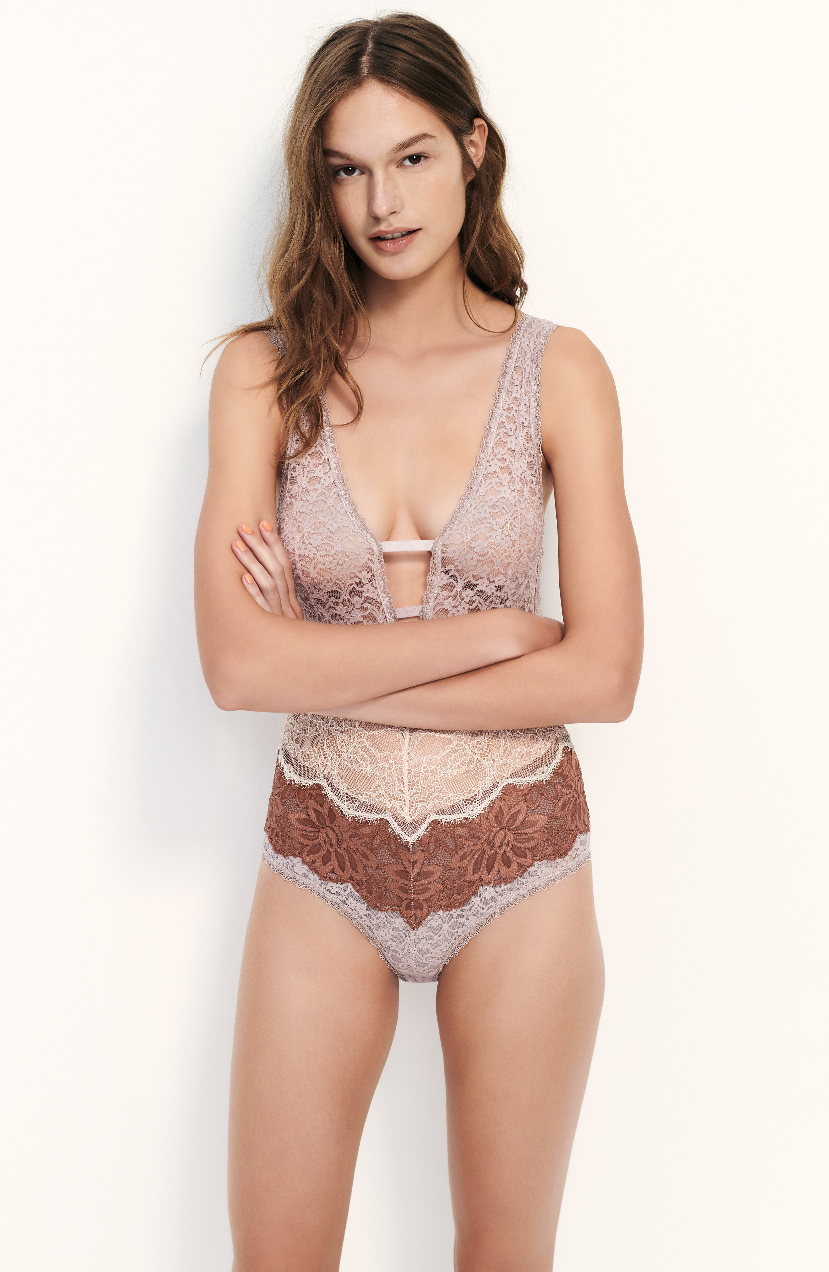 Free People Intimately FP Not Yours Bodysuit,                             Alternate thumbnail 8, color,                             BLACK COMBO
