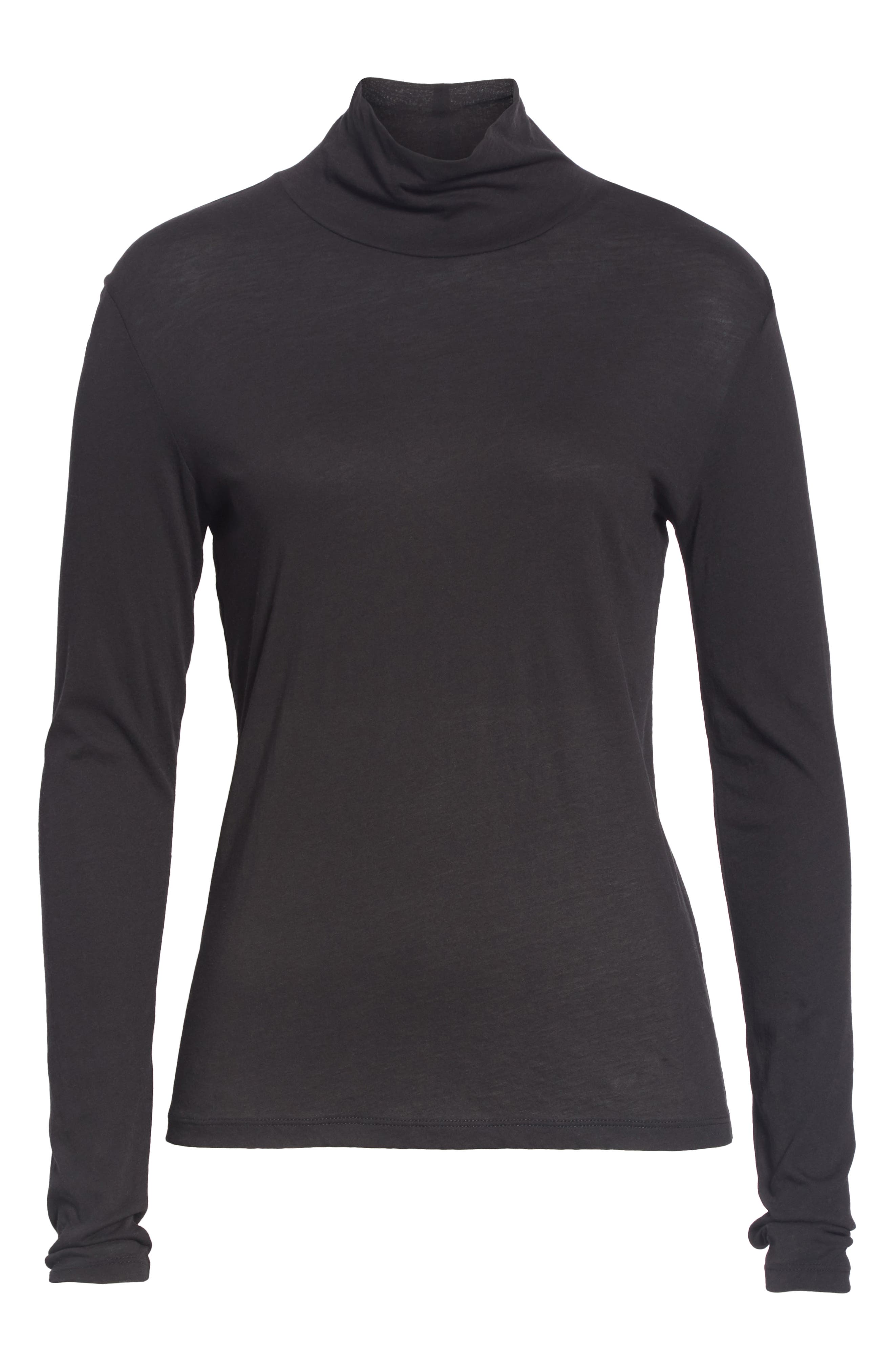 Pima Cotton Turtleneck,                             Alternate thumbnail 6, color,                             001