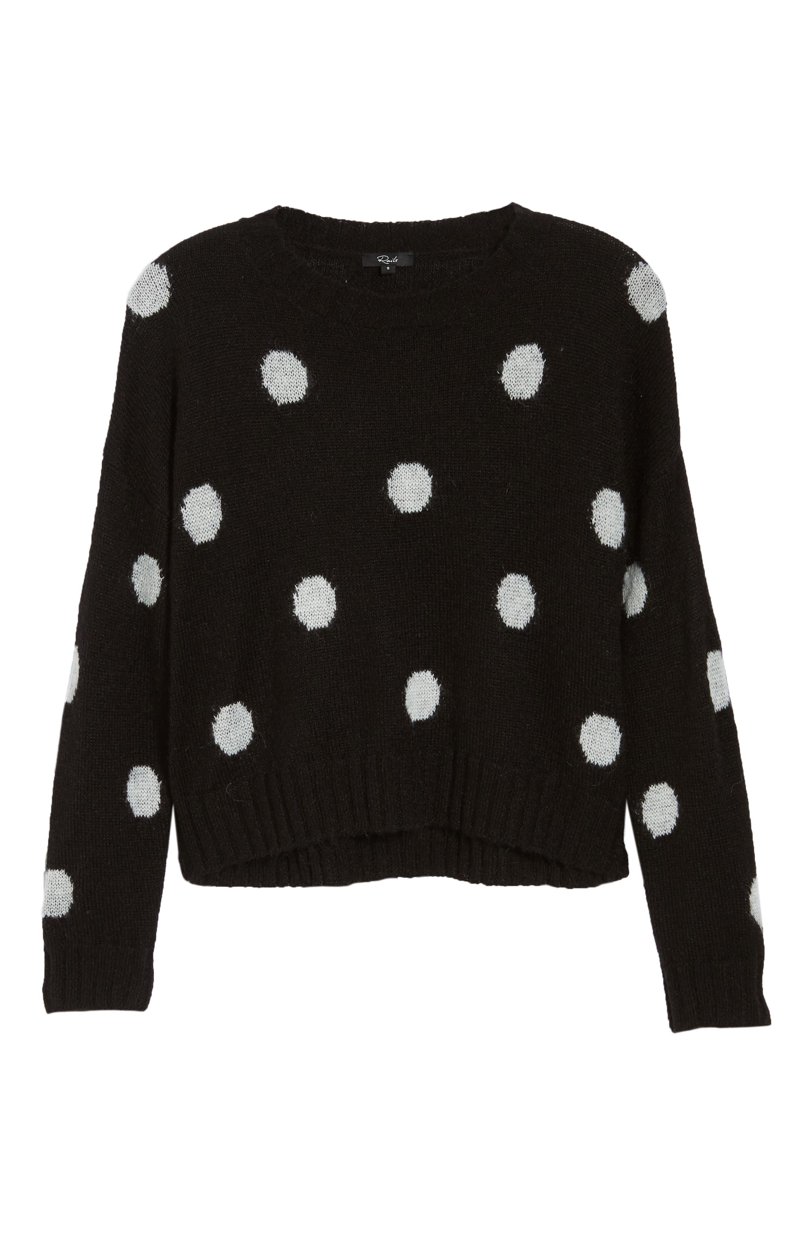 Perci Sweater,                             Alternate thumbnail 6, color,                             BLACK/ IVORY POLKA DOT