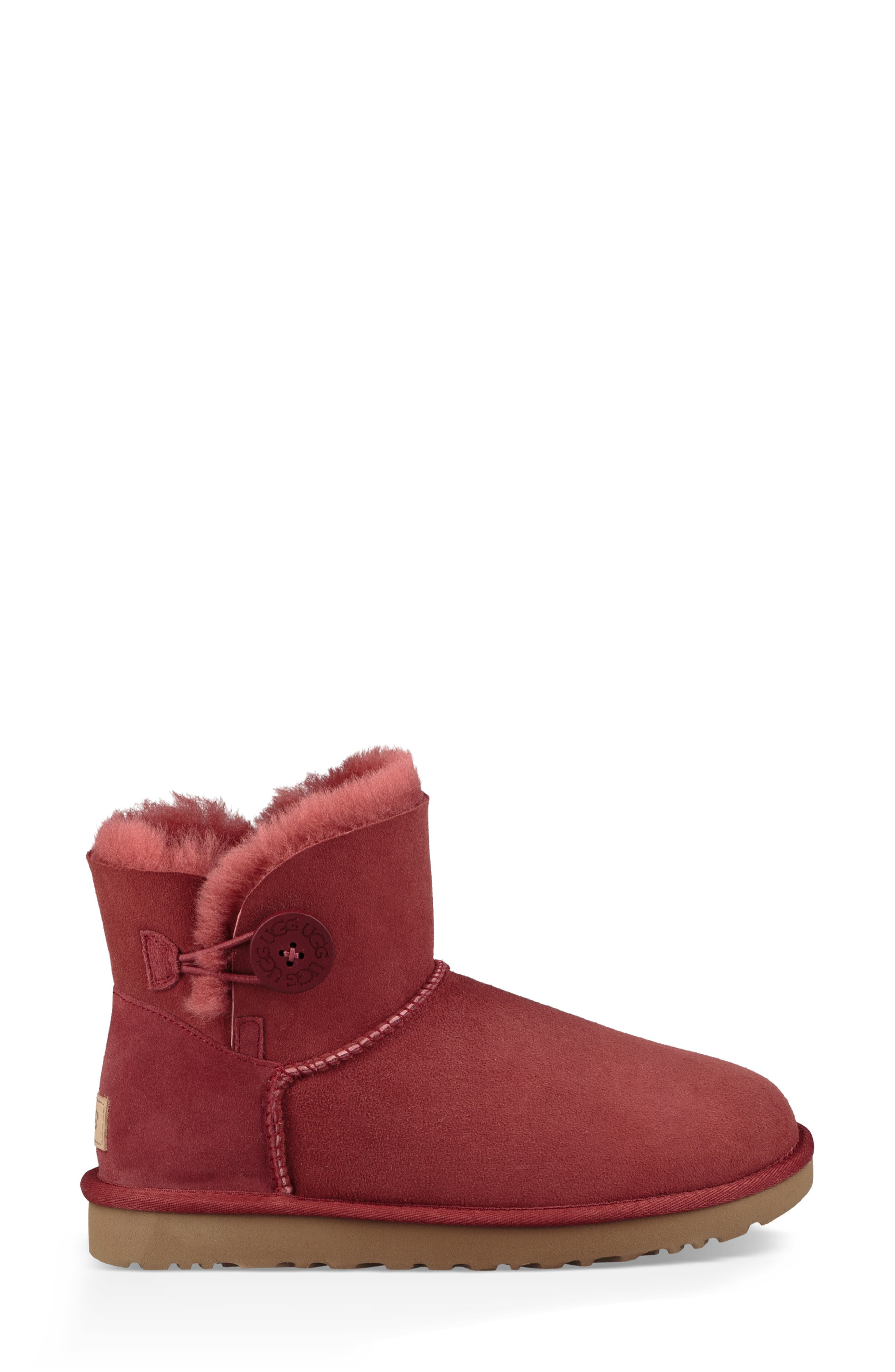 'Mini Bailey Button II' Boot,                             Alternate thumbnail 3, color,                             REDWOOD SUEDE