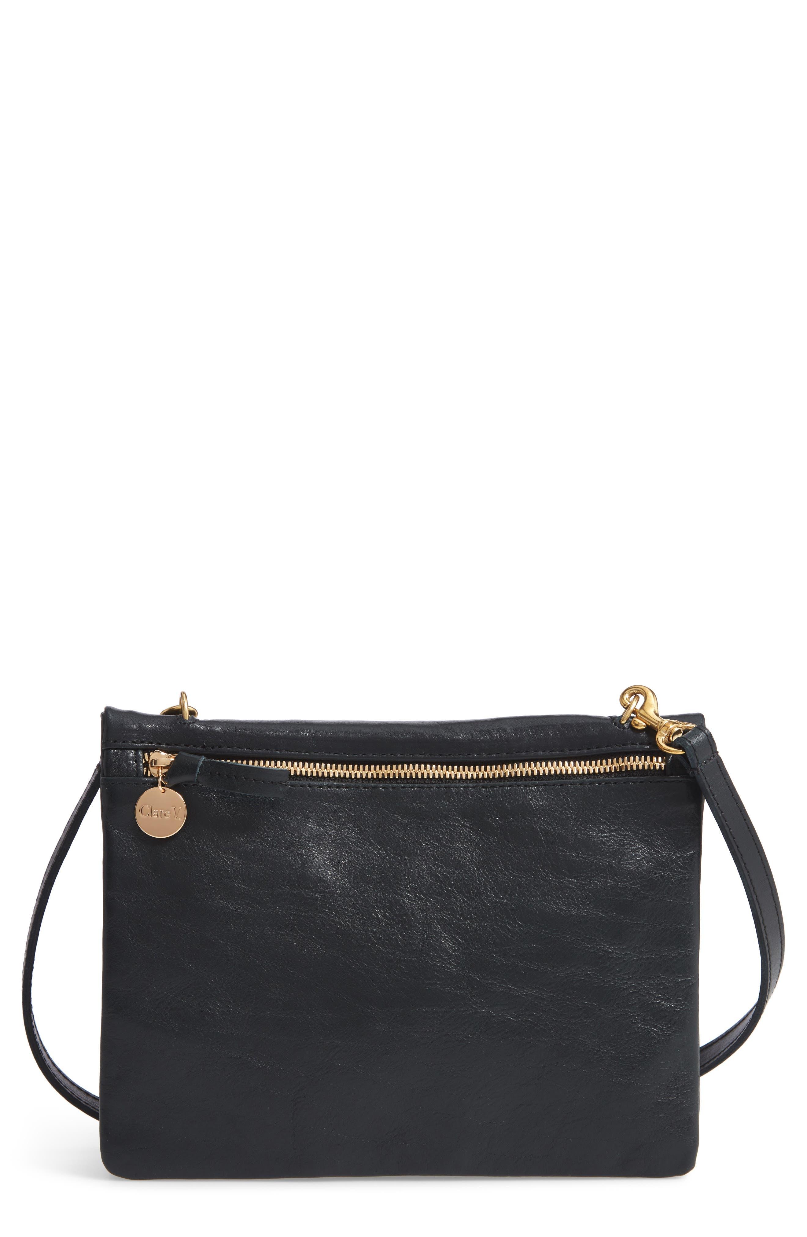CLARE V Jumelle Leather Crossbody Bag - Black in Black Rustic