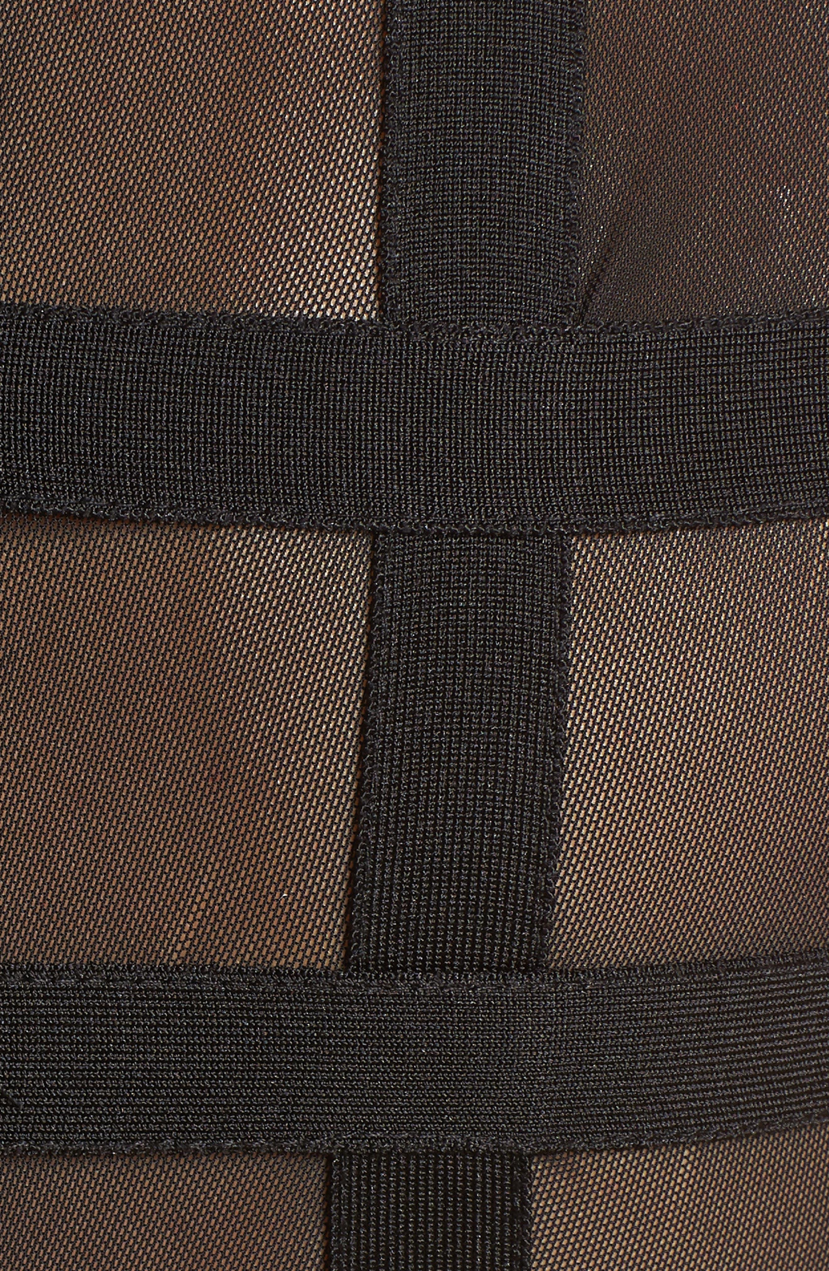 Cagebird Two-Piece Body-Con Dress,                             Alternate thumbnail 5, color,                             BLACK