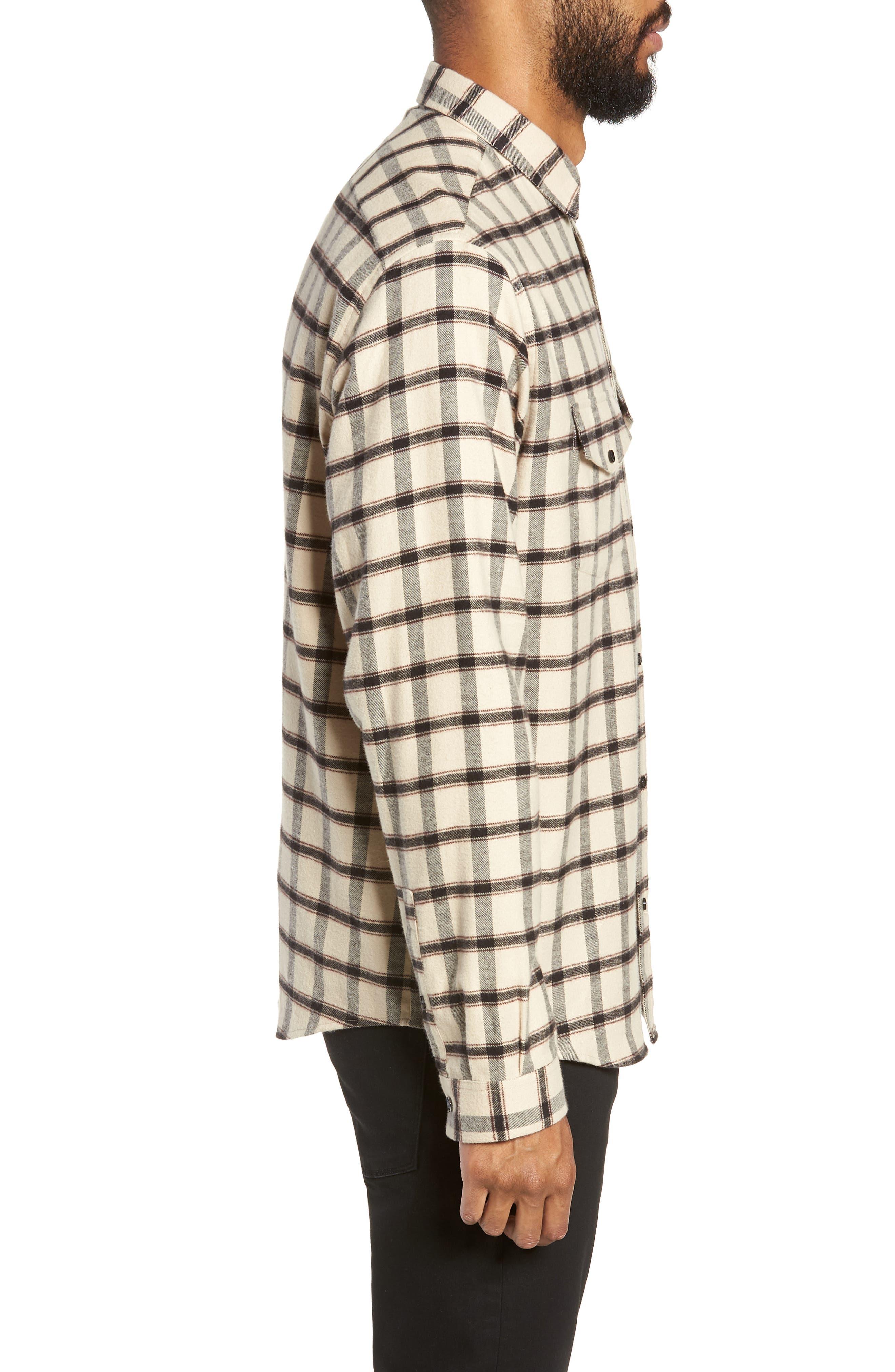 Long Sleeve Plaid Regular Fit Sport Shirt,                             Alternate thumbnail 4, color,                             BEIGE/ BLACK