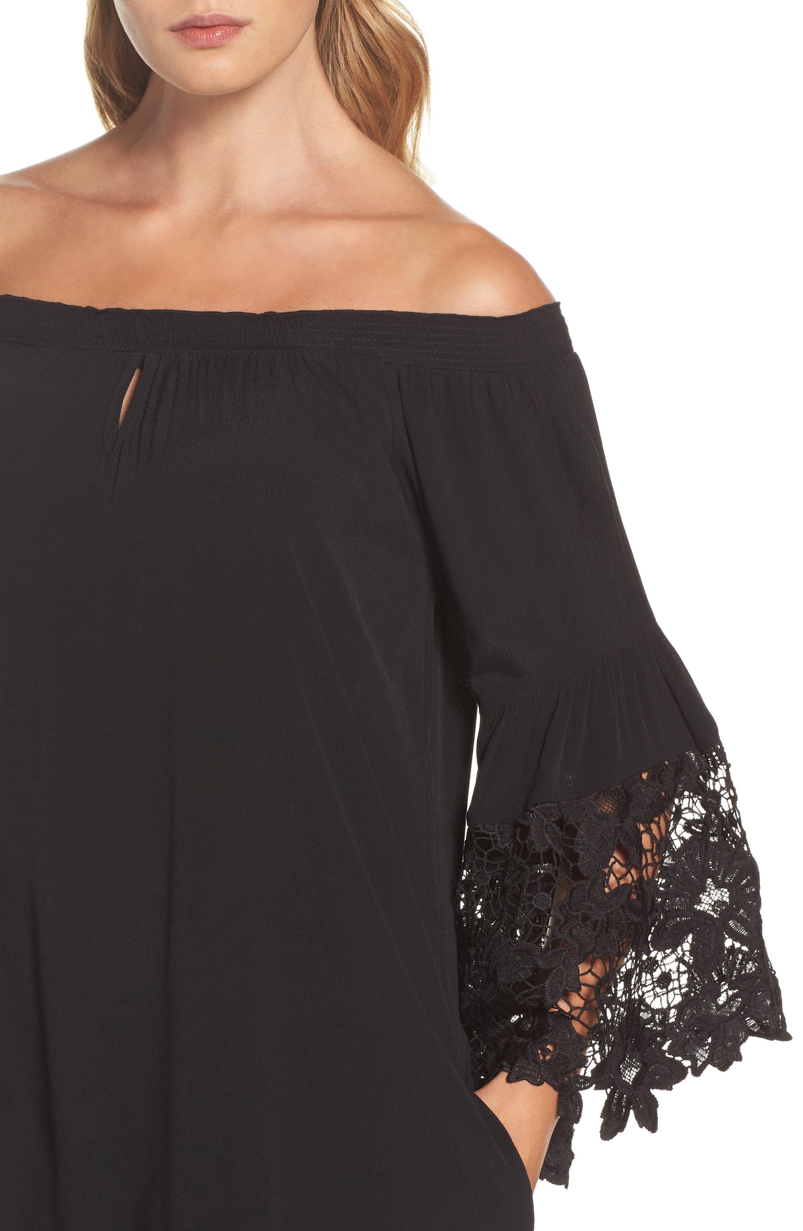 Jolie Lace Accent Cover-Up Dress,                             Alternate thumbnail 4, color,                             001