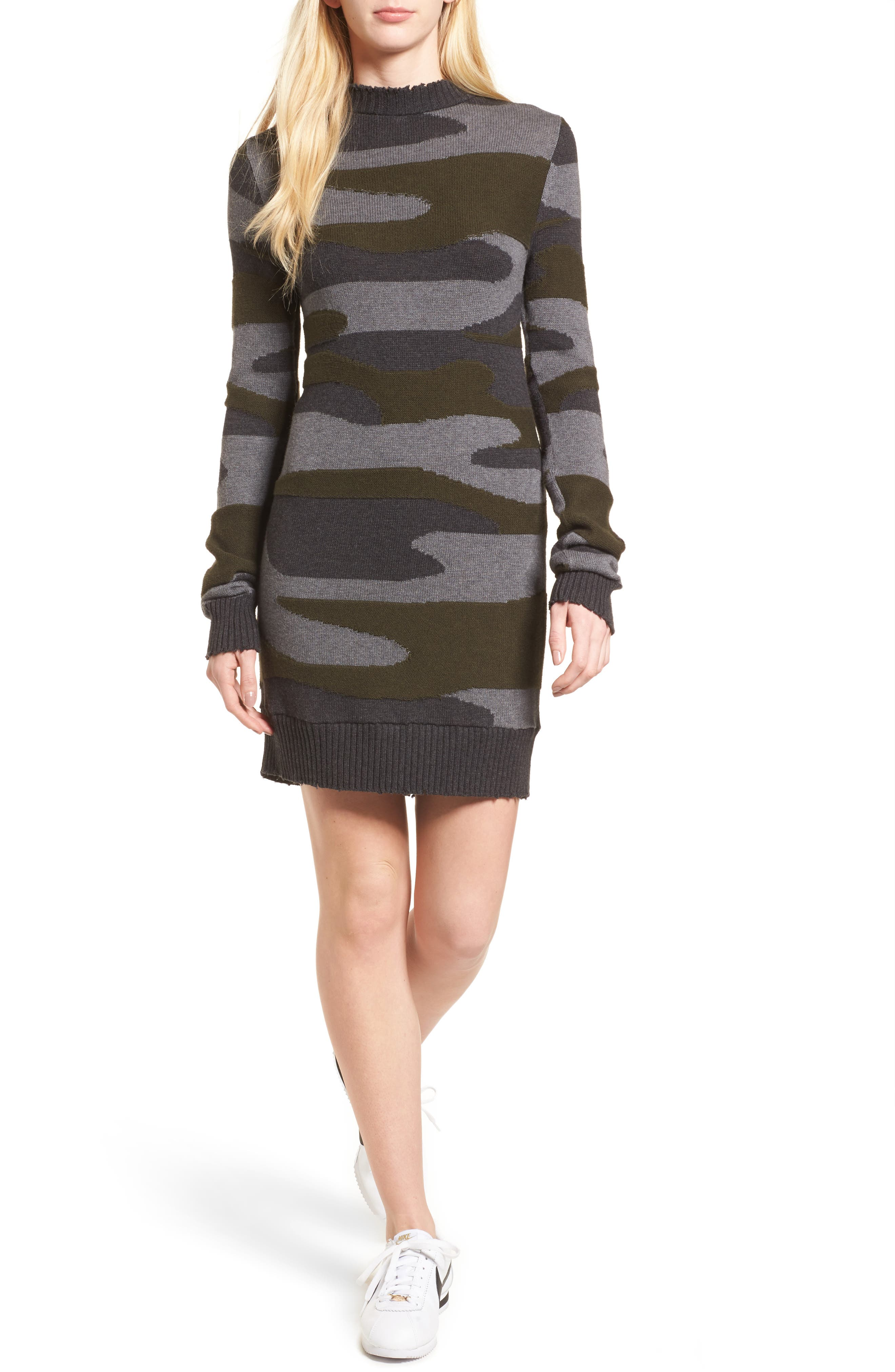 Camo Sweater Dress,                             Main thumbnail 1, color,                             313