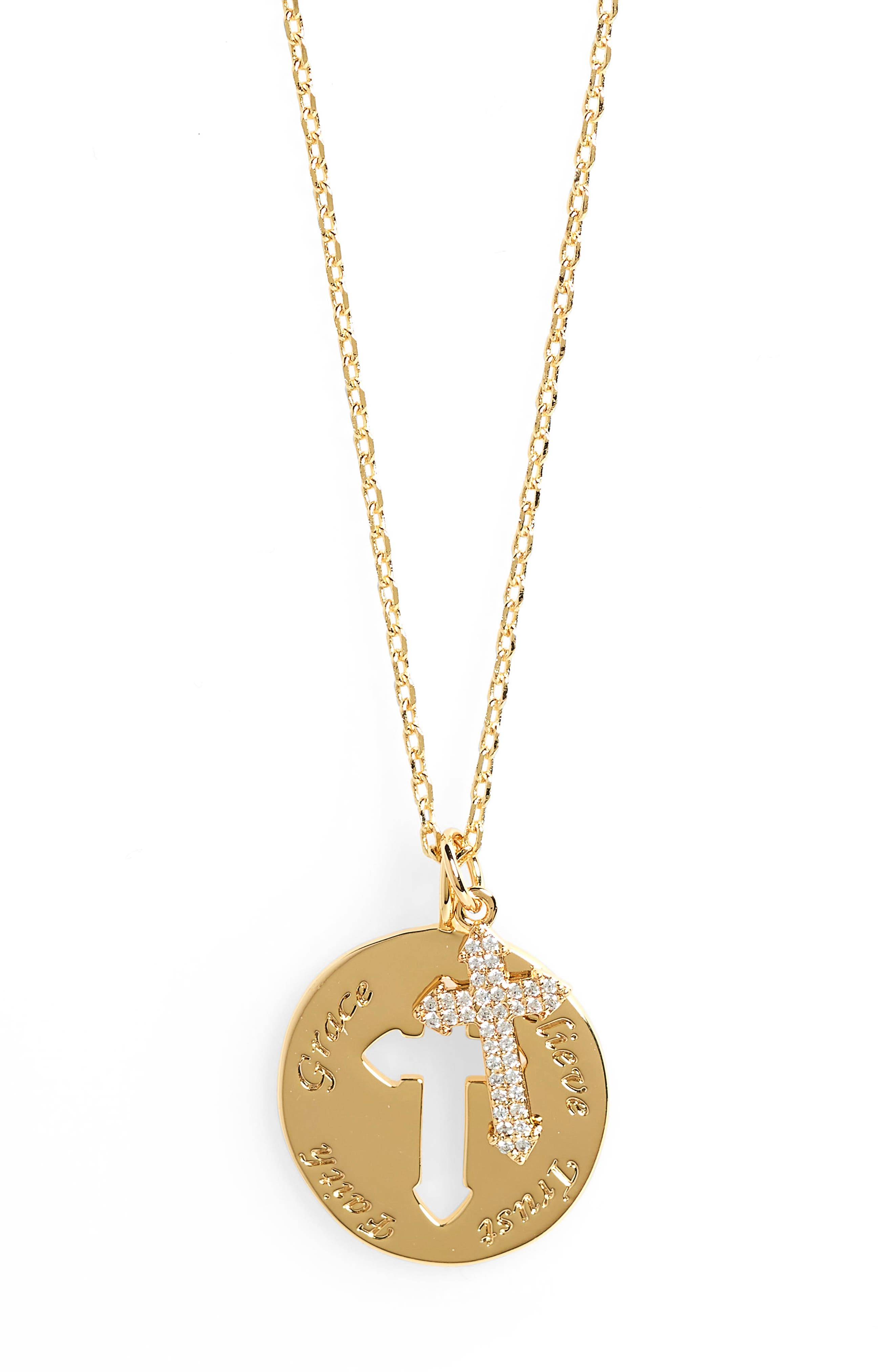 Cross Disc Pendant Necklace,                             Alternate thumbnail 2, color,                             710
