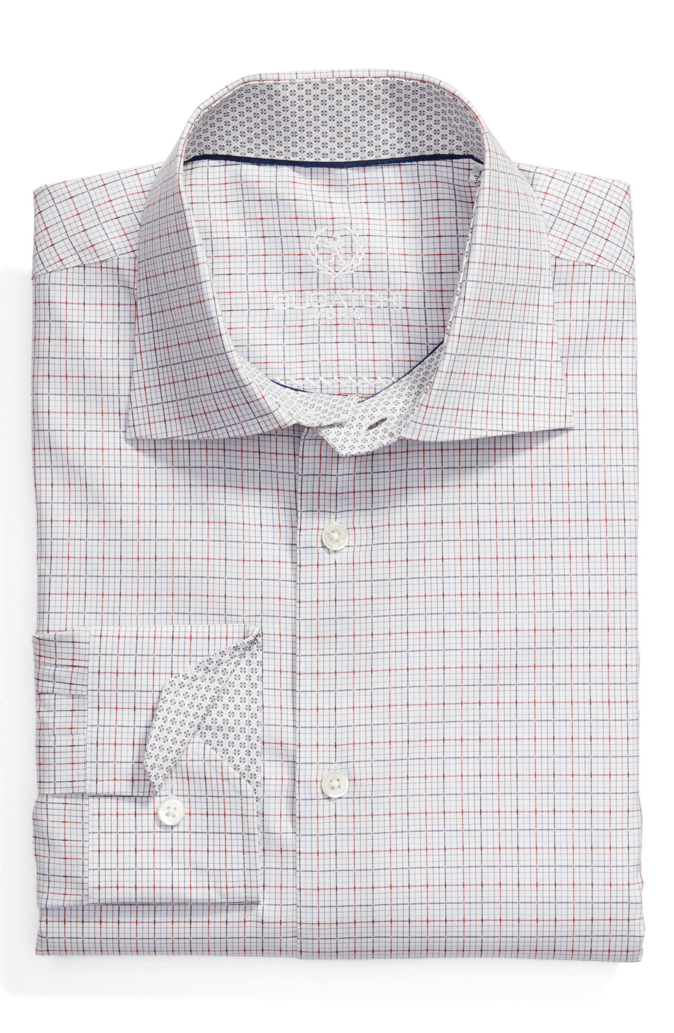 Trim Fit Check Dress Shirt,                             Main thumbnail 1, color,