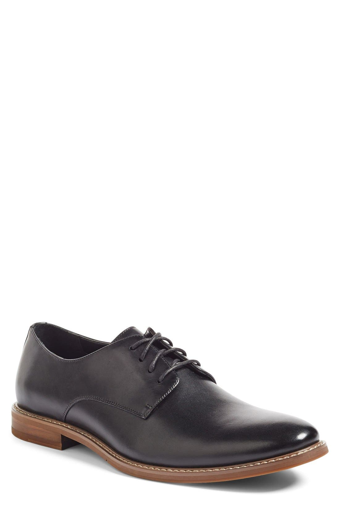 Everett Plain Toe Derby,                             Main thumbnail 1, color,                             BLACK LEATHER