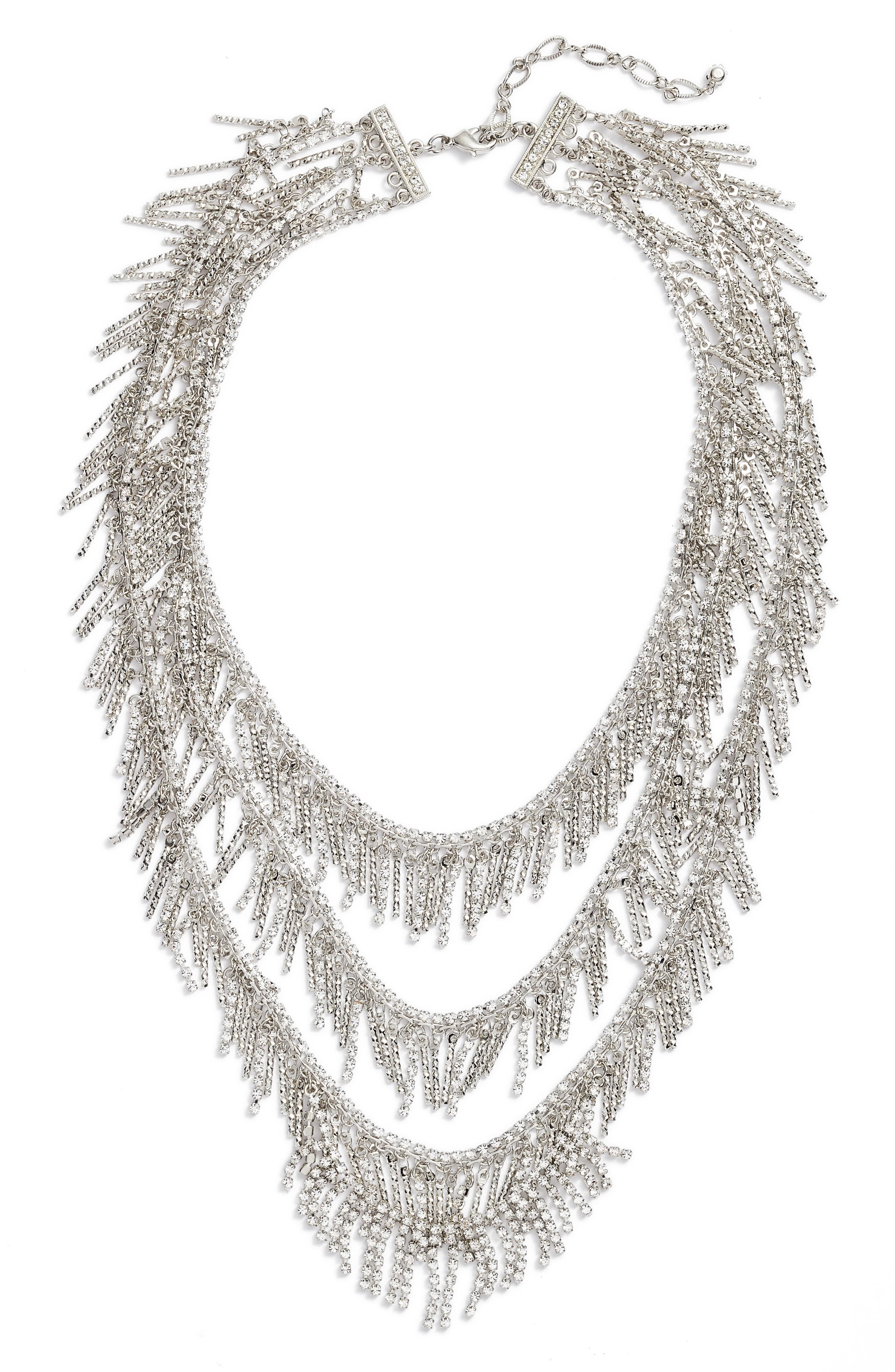 Three Row Crystal Fringe Necklace,                             Alternate thumbnail 2, color,                             040