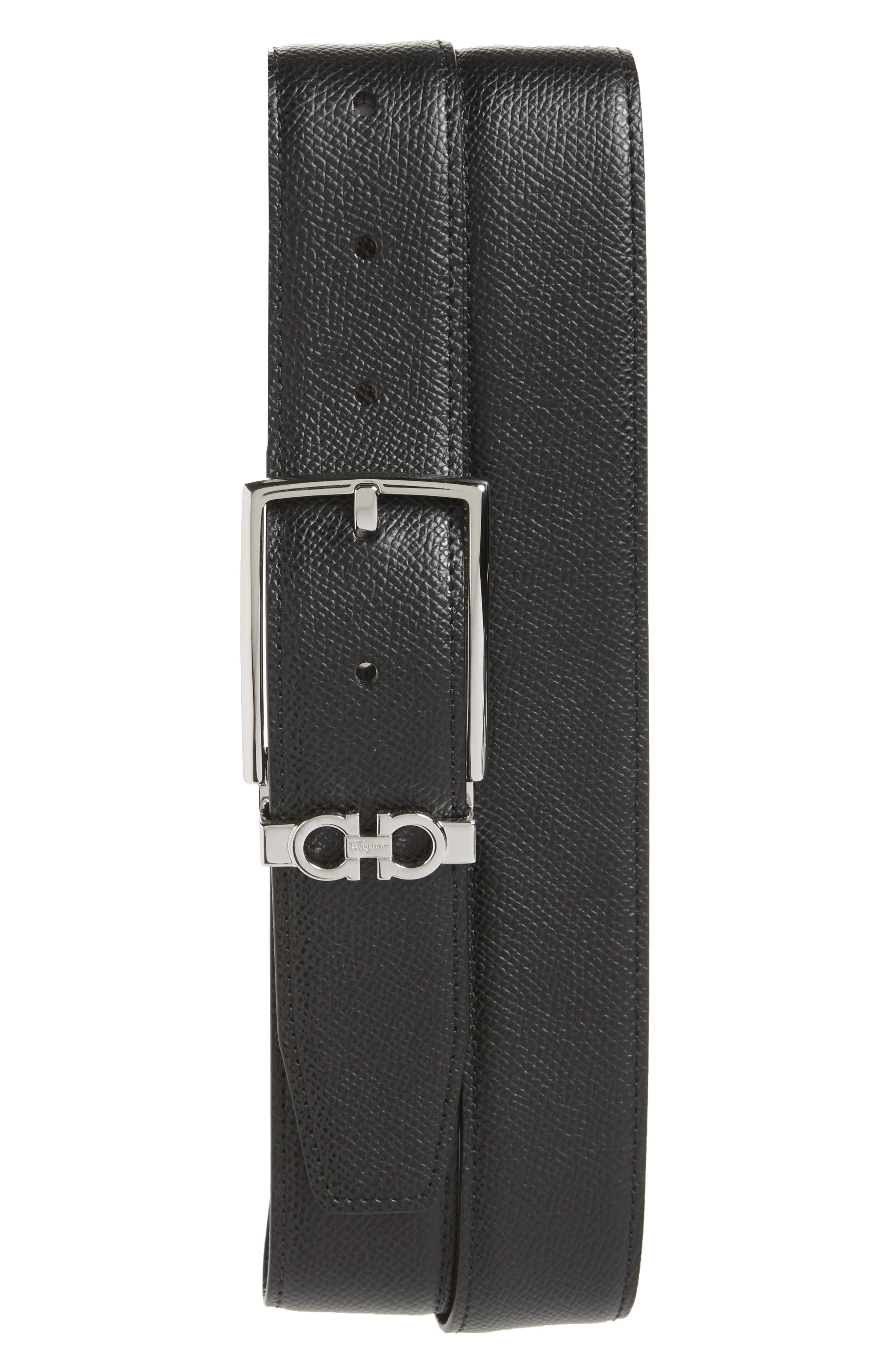 Reversible Leather Belt, Main, color, NERO / T.MORO