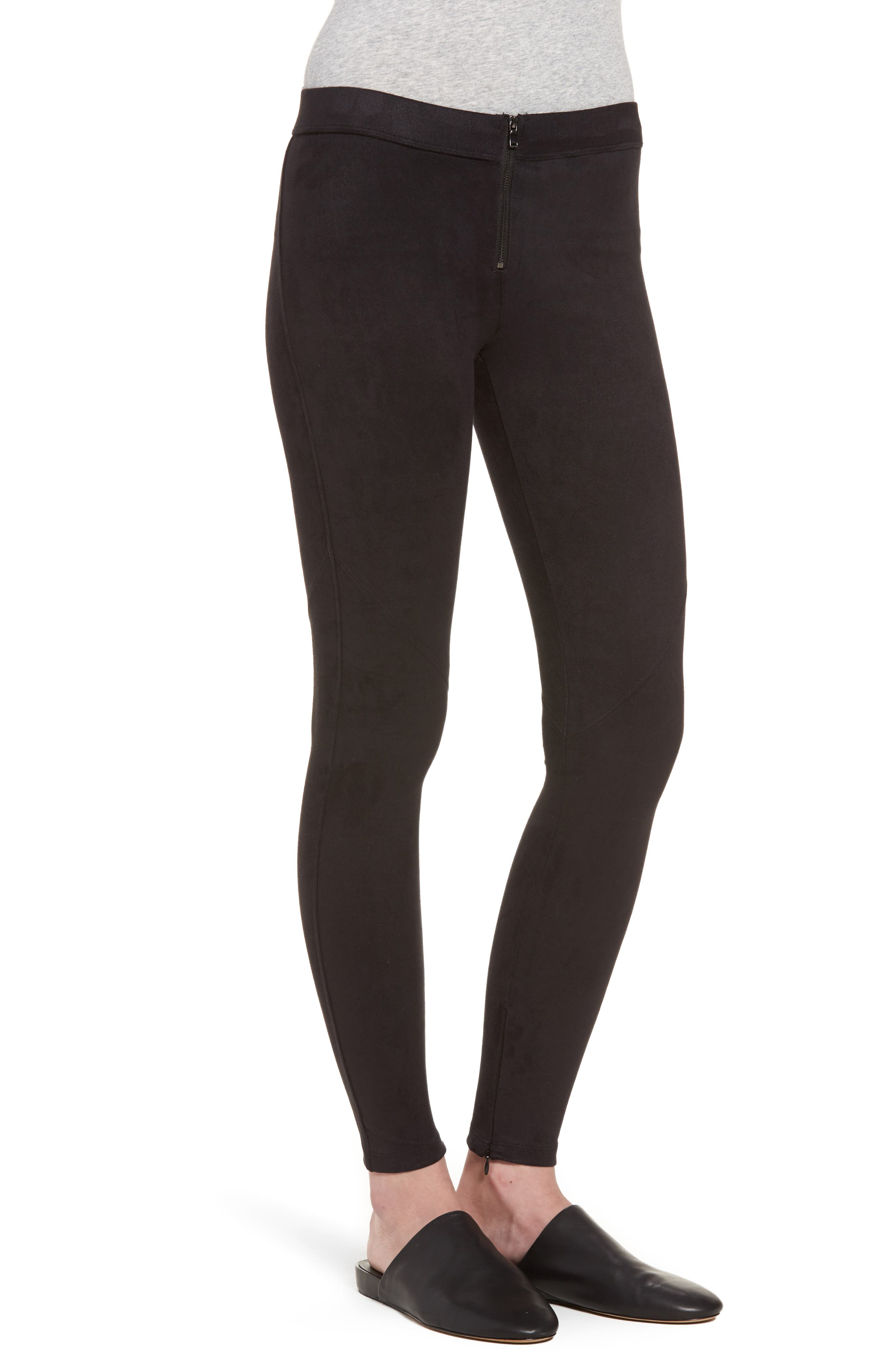 Faux Suede Leggings,                             Alternate thumbnail 3, color,                             BLACK