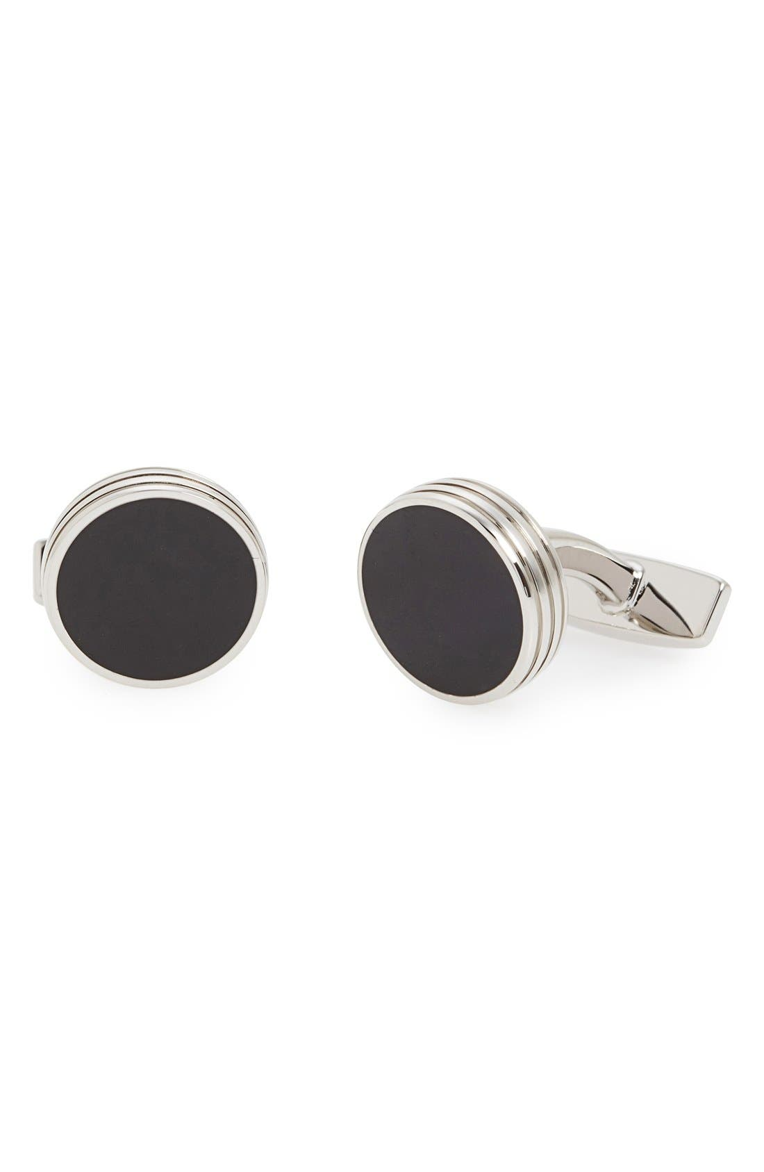 'Roy' Cuff Links,                             Main thumbnail 1, color,                             SILVER/ BLACK