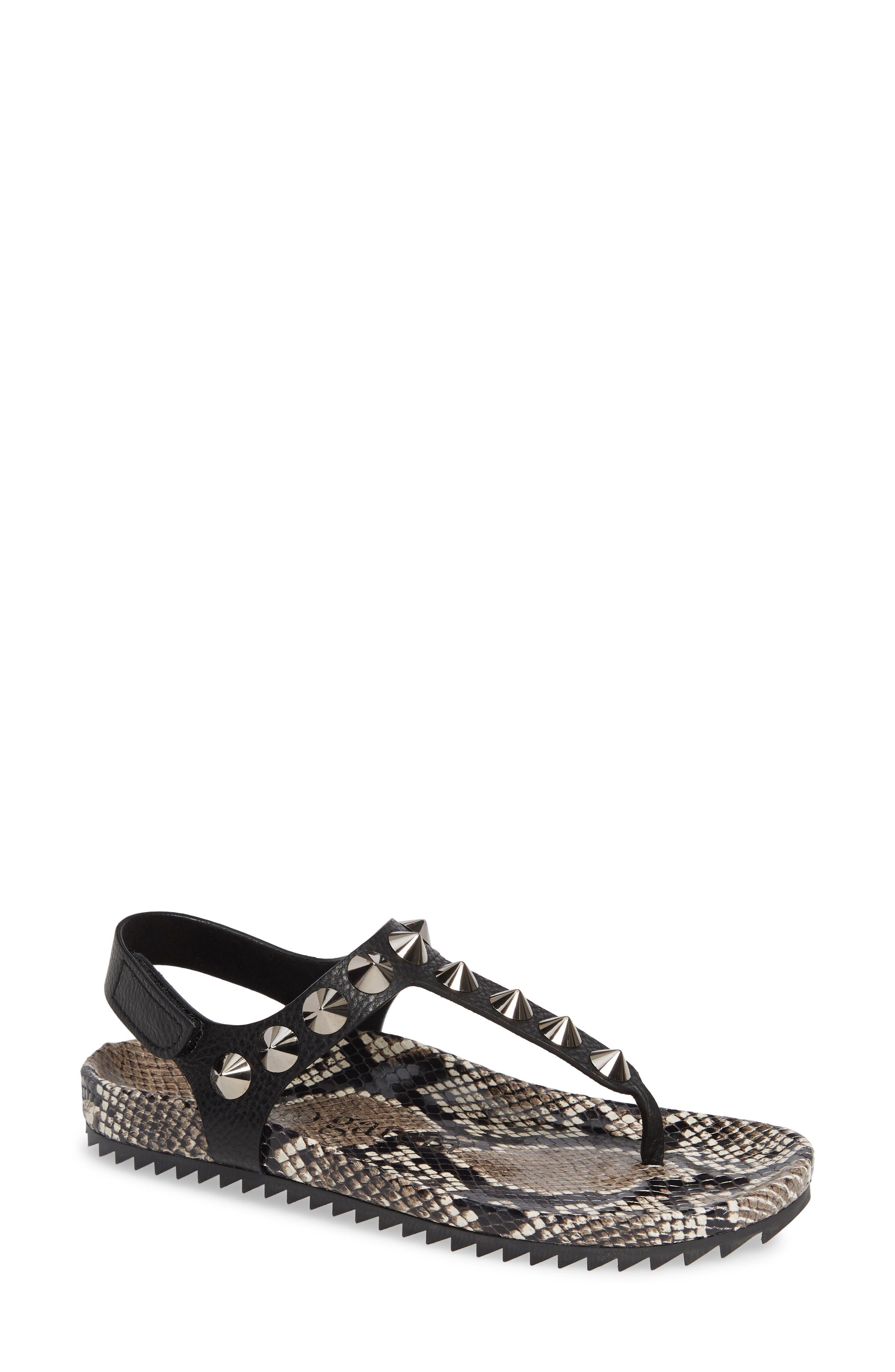 Athena Studded Thong Sandals in Black Snakeskin